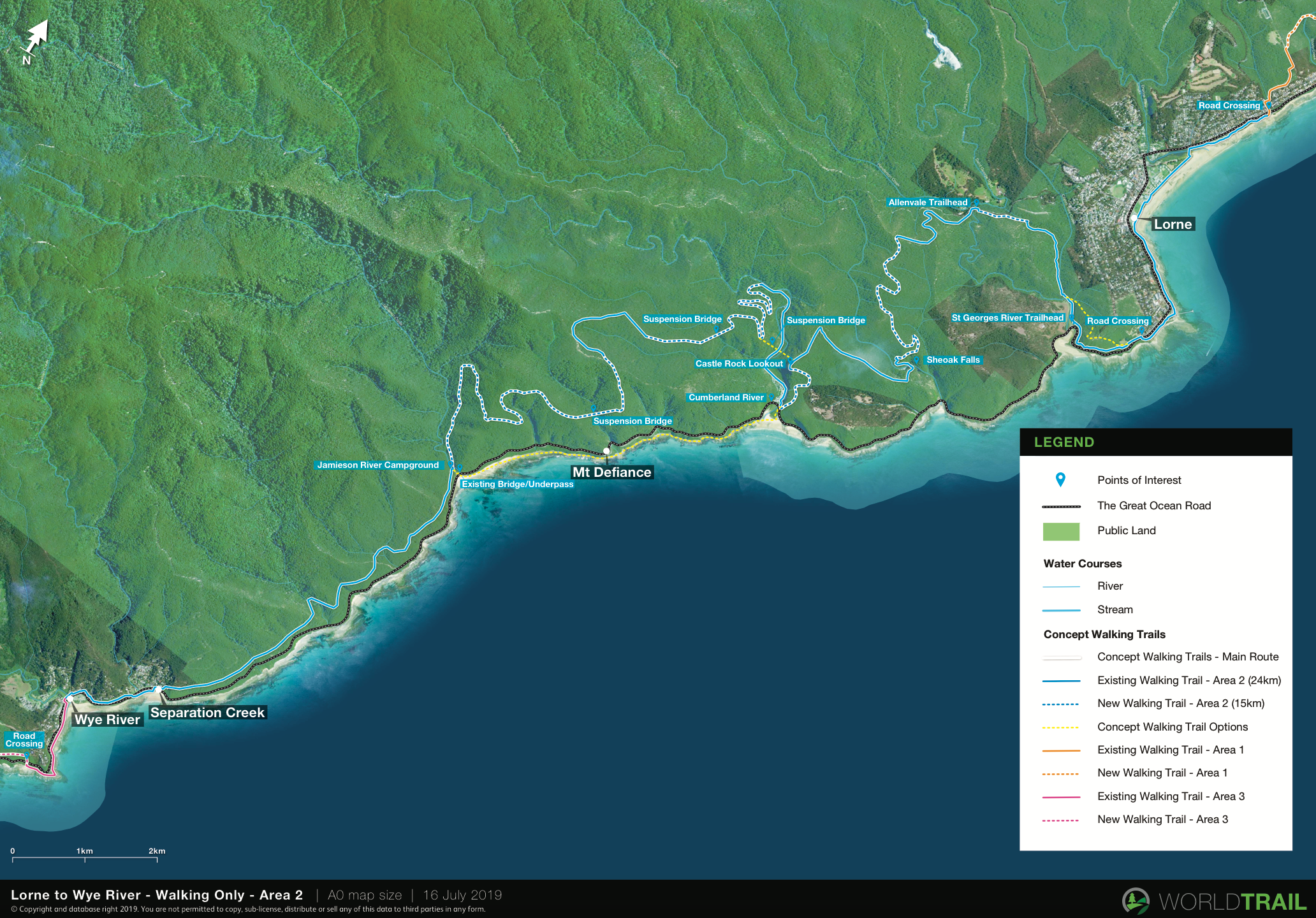 Draft concept map for a walking trail starting in Lorne and finishing in Wye River in the Great Ocean Road region
