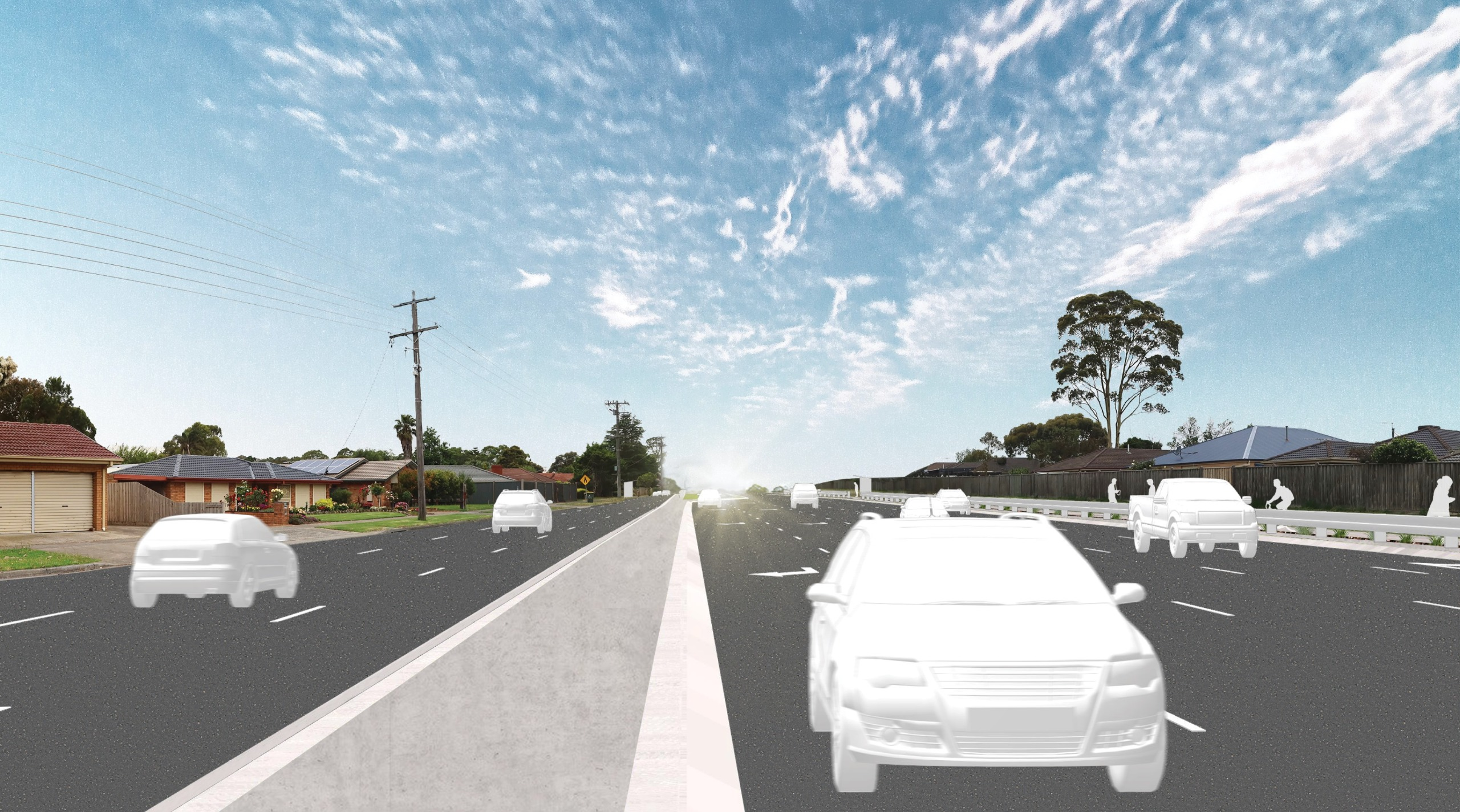 Artist's impression of cars driving through the McCormicks Road intersection 1 year after project completion