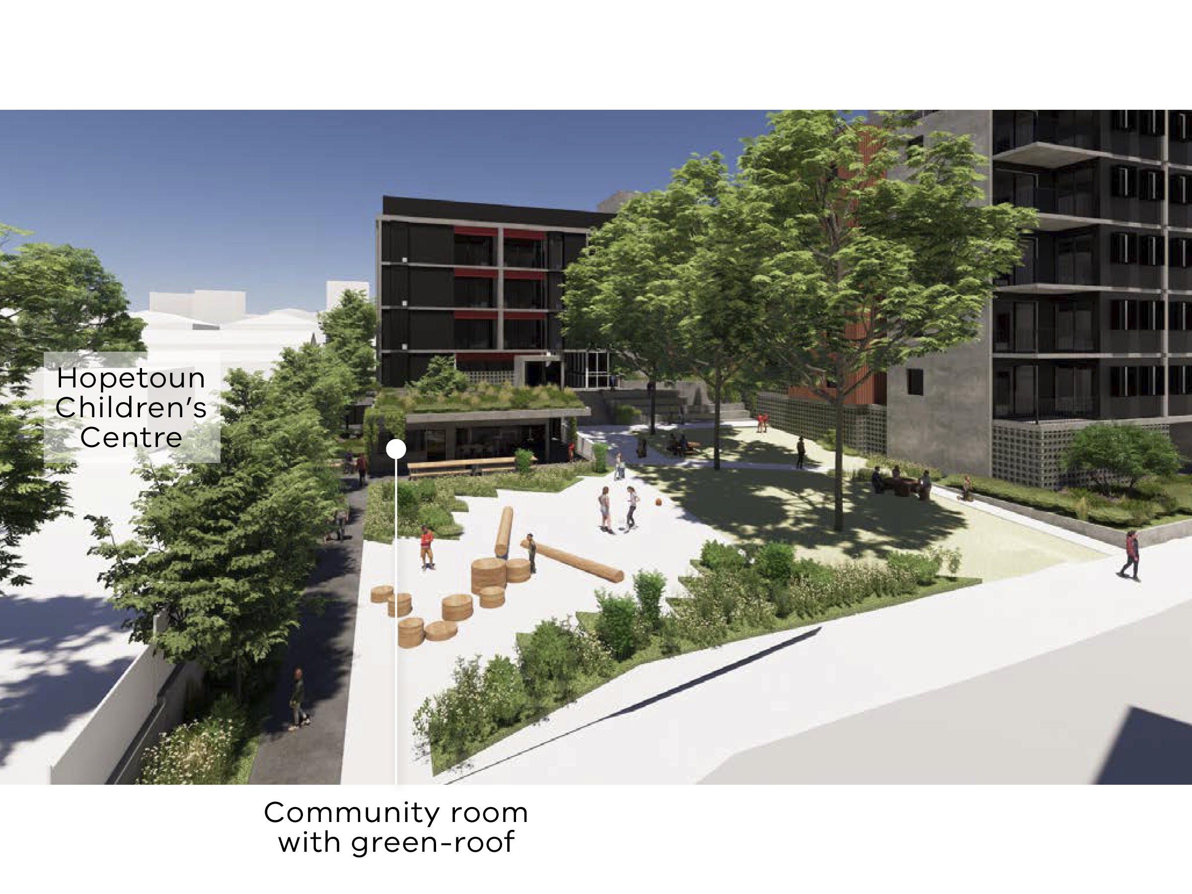Artist impression of the new development showing the children's garden and the location of Hopetoun Children's Centre and the community room with a green roof