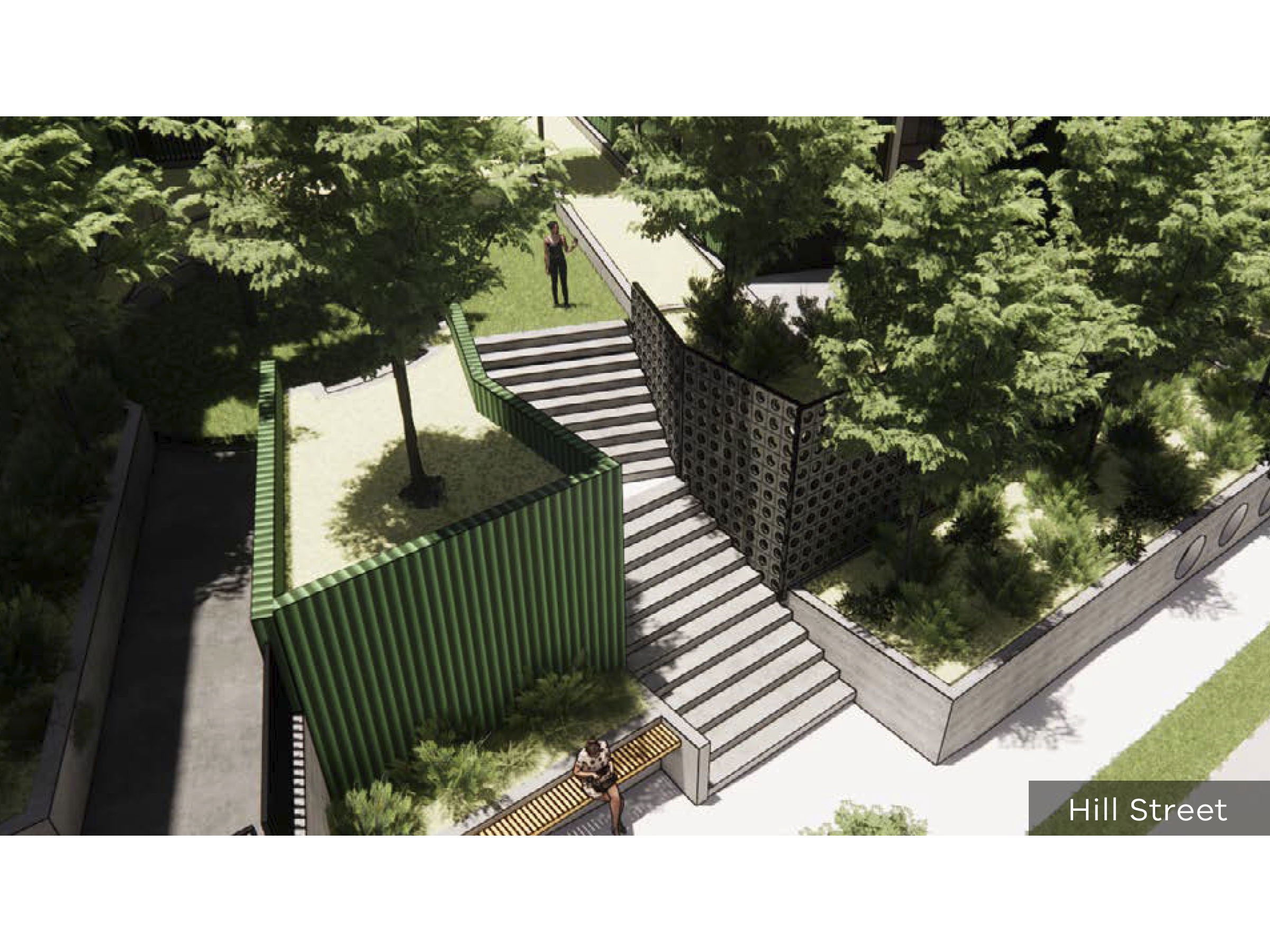 Artist impression of the new development showing a staircase to access the site at Hill Street
