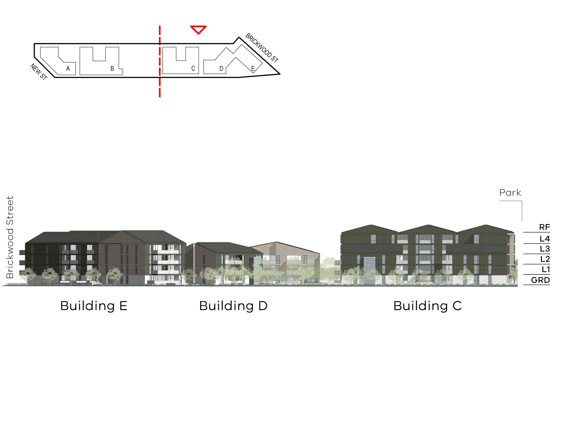 Diagram showing the heights of buildings C, D and E as seen from Ebden Street. Building C includes ground level, level 1 - 4 and a roof, building D includes ground level, level 1-2 and a roof, building E includes ground level, level 1-3 and a roof.