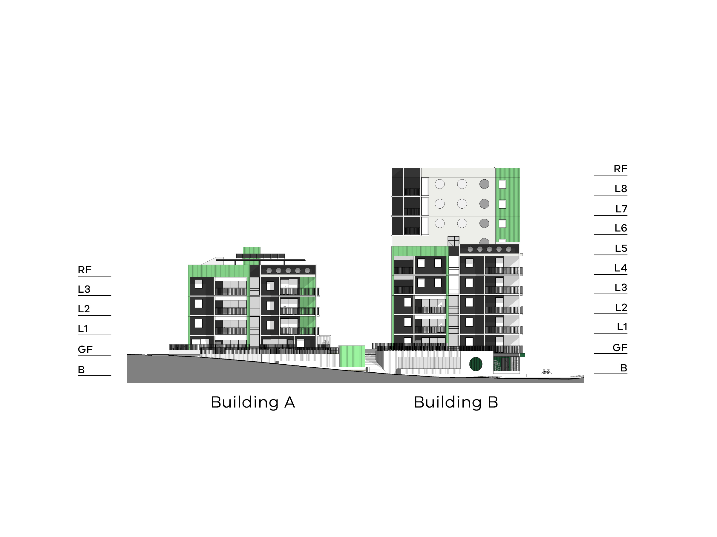 Diagram showing the heights of buildings A and B as seen from Hill Street. Building A has a basement, ground floor, level 1-3 and a flat roof. Building B has a basement, ground floor, level 1-8 and a roof.