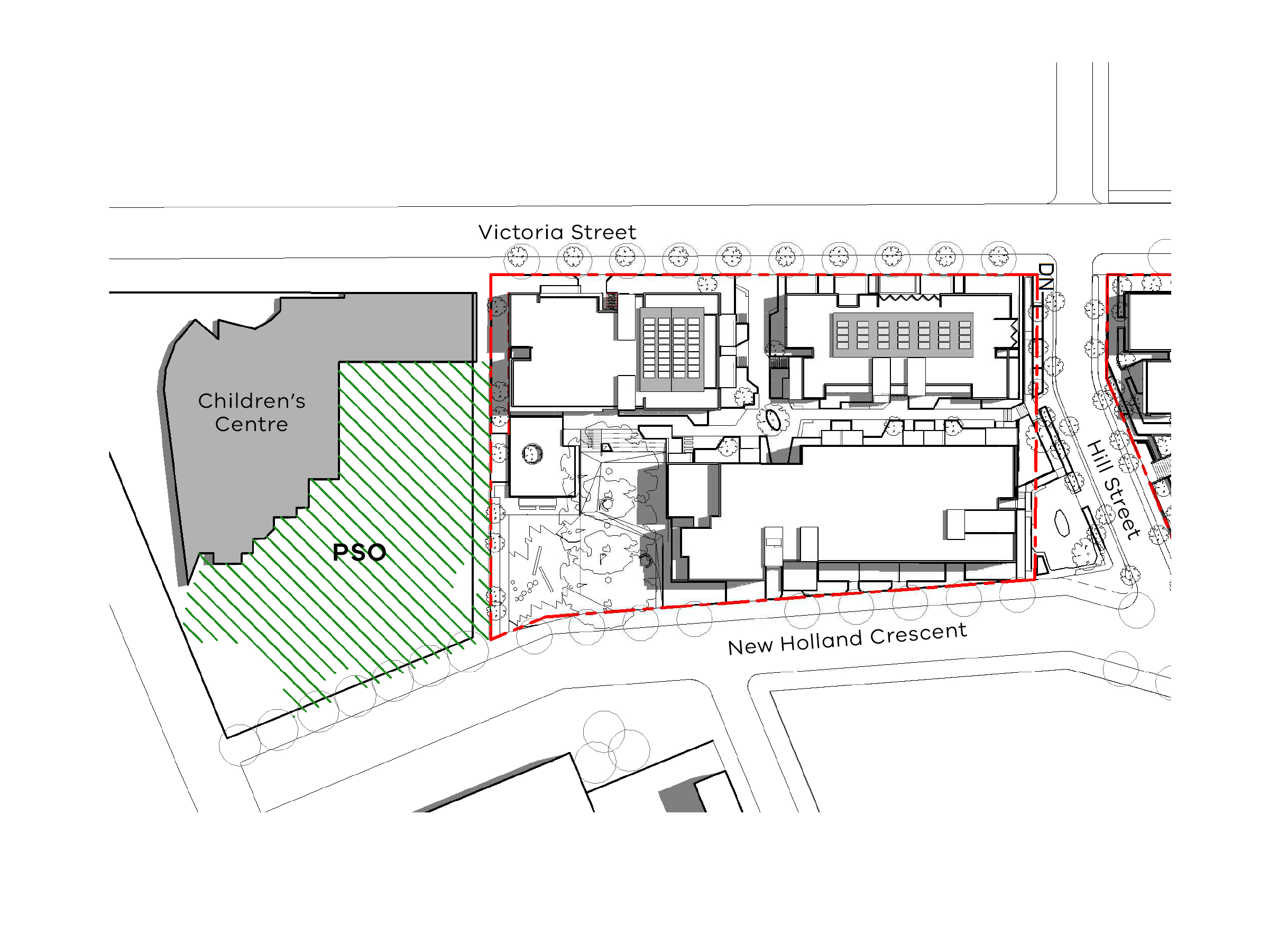Diagram showing the shadows created by the south site of the new development in September at 12pm
