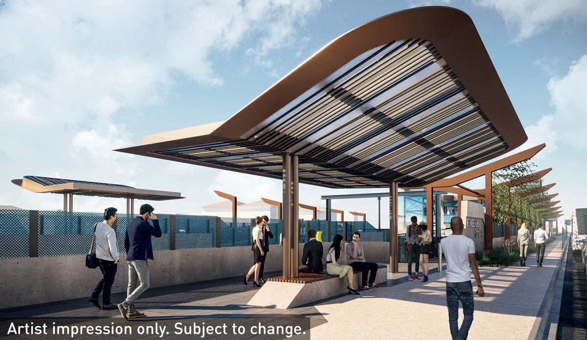 The new platforms at Bonbeach Station includes its a vertical garden that will create a shaded approach to the station along Nepean Highway.