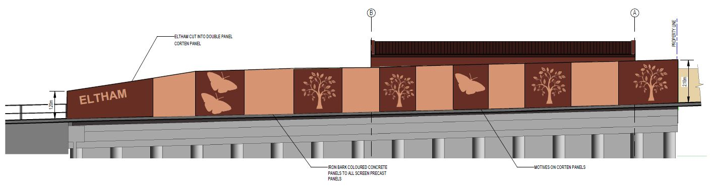 The image shows how the new wall will sit atop concrete foundations that retain the road and earthworks below road level. Ironbark-coloured concrete panels will rise to 2100mm above the footpath with alternate panels clad in a rusted Corten steel with a l