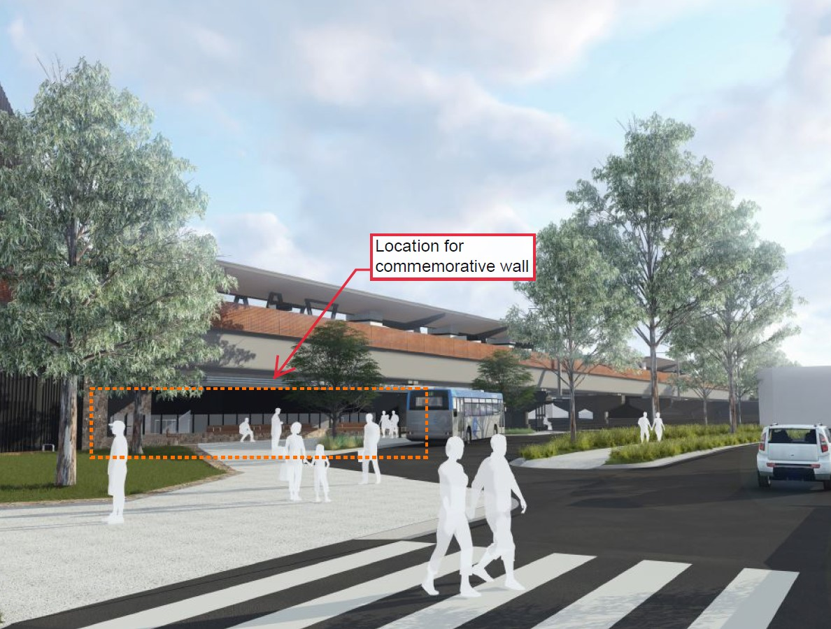 Artist impression of the location for commemorative wall, beneath the elevated Mooroolbark Station.