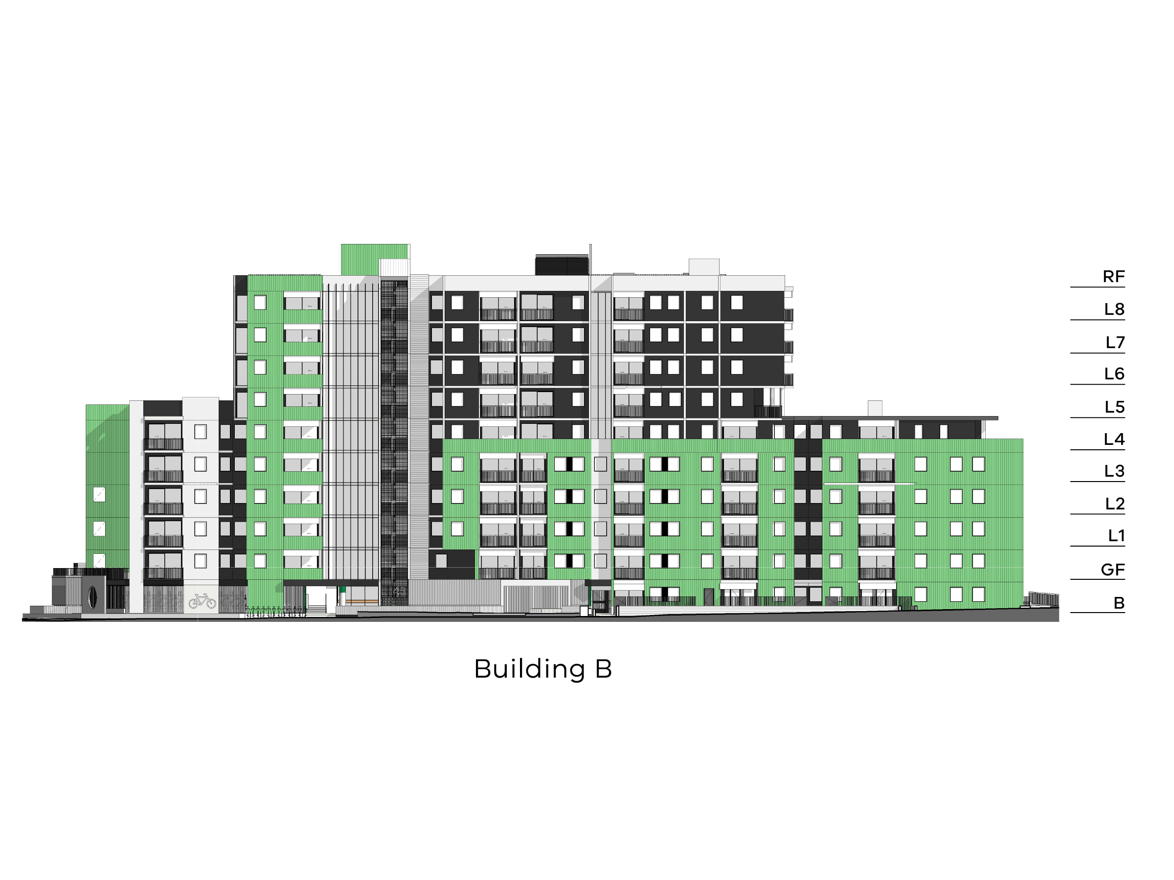 Diagram showing the heights of building B as seen from New Holland Crescent. Building B has different heights. The side closest to Hill Street has a basement, a ground floor level with bike storage, level 1-4 and a flat roof. The middle part has a basement level, a ground floor, level 1-8 and a flat roof. The side closest to Debneys Park has a basement level, ground floor, level 1-4 and a flat roof.