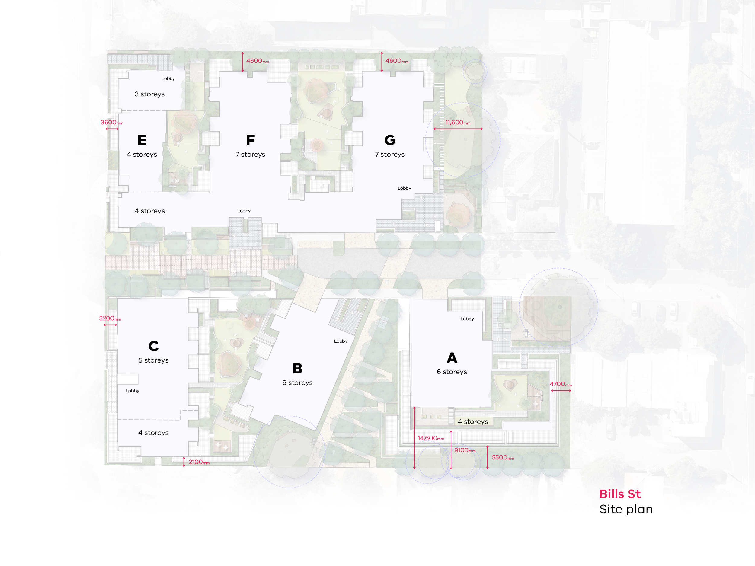 Map showing the building heights and setbacks of the Bills Street redevelopment. Building A (south east of Bills Street) - 6  and 4 storeys high, building B (south of Bills Street) - 6 storeys high, building C (south west of Bills Street) - 5 and 4 storeys high, building E (north west of Bills Street) - 3 and 4 storeys high, building F (north of Bills Street) - 4 and 7 storeys high and building G (north east of Bills Street) - 7 storeys high.