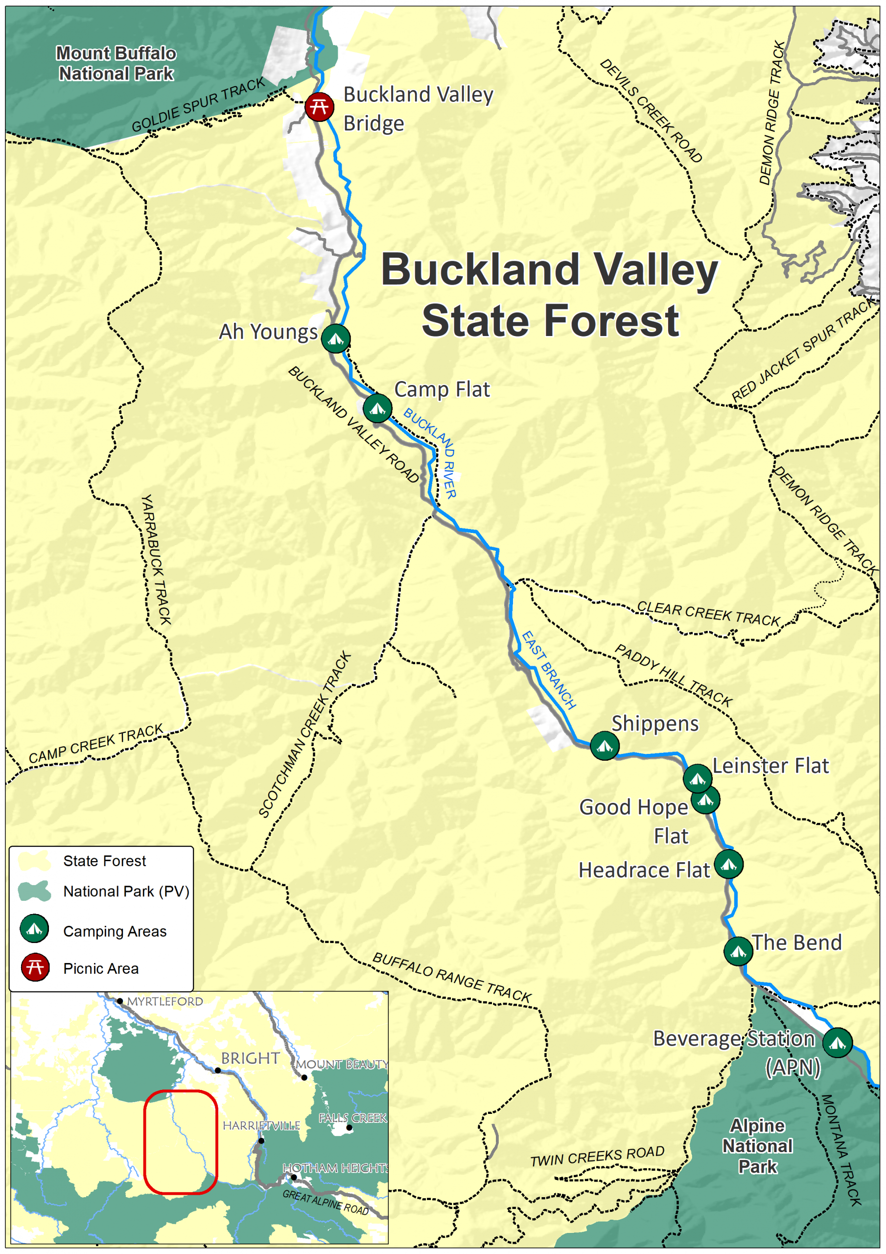Map identifying the formal campgrounds in the Buckland Valley State Forest