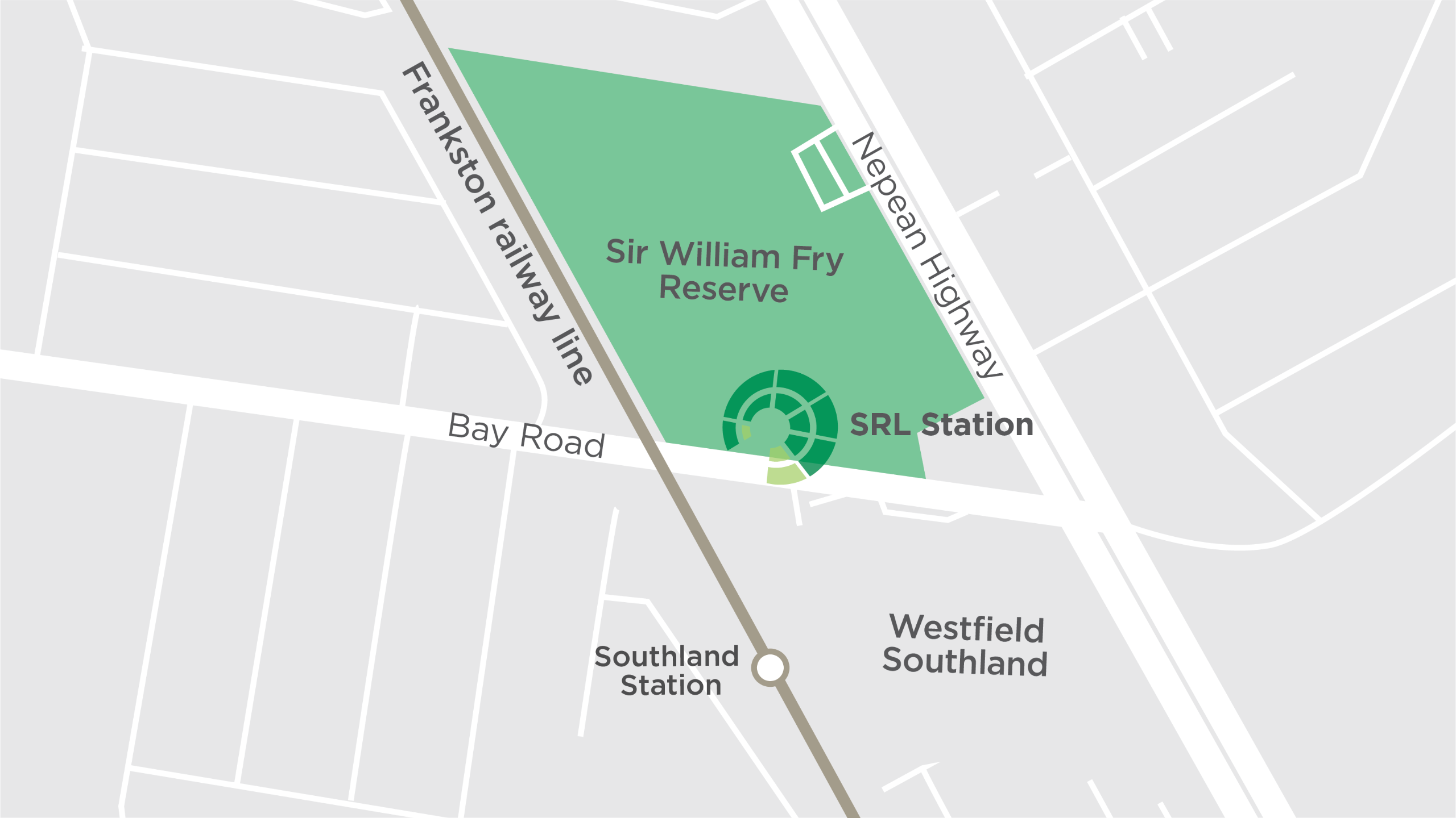 This map shows the new Suburban Rail Loop underground train station at Cheltenham, proposed to be located under part of Sir William Fry Reserve.