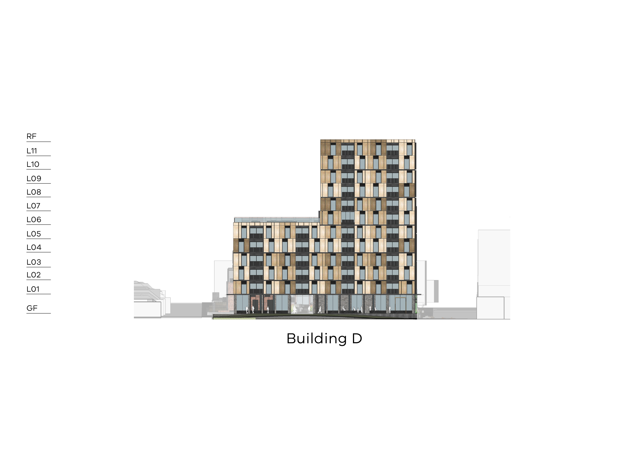 Diagram showing the height of building D as seen from the northern public space. Building D has a ground floor, level 1-5 and a flat roof on the Bendigo Street side and a ground floor, level 1-11 and a flat roof on the Bangs Street side.