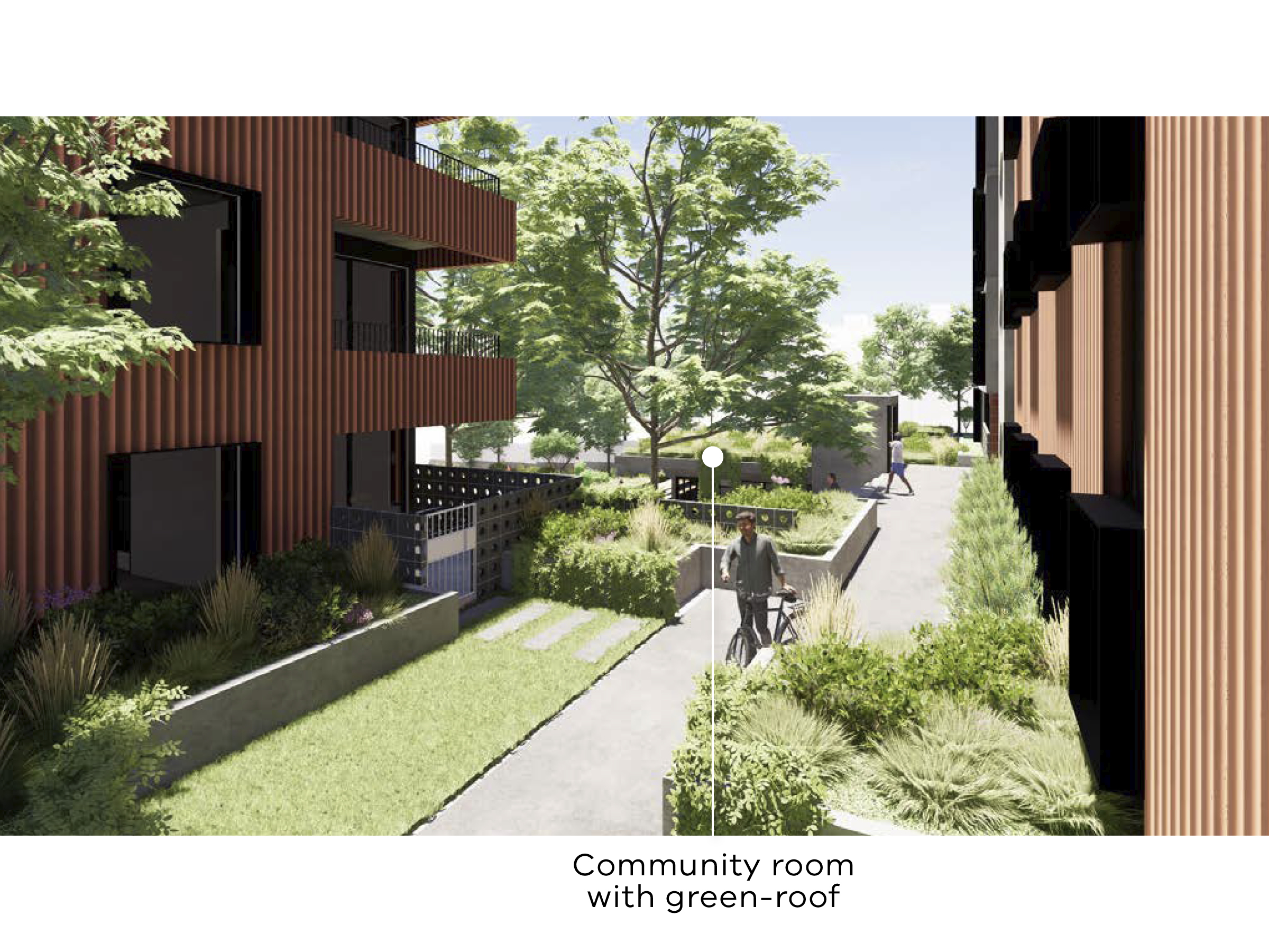 Artist impression of the new development showing the community link looking towards the courtyard. The location of the community room with a green roof is visible.