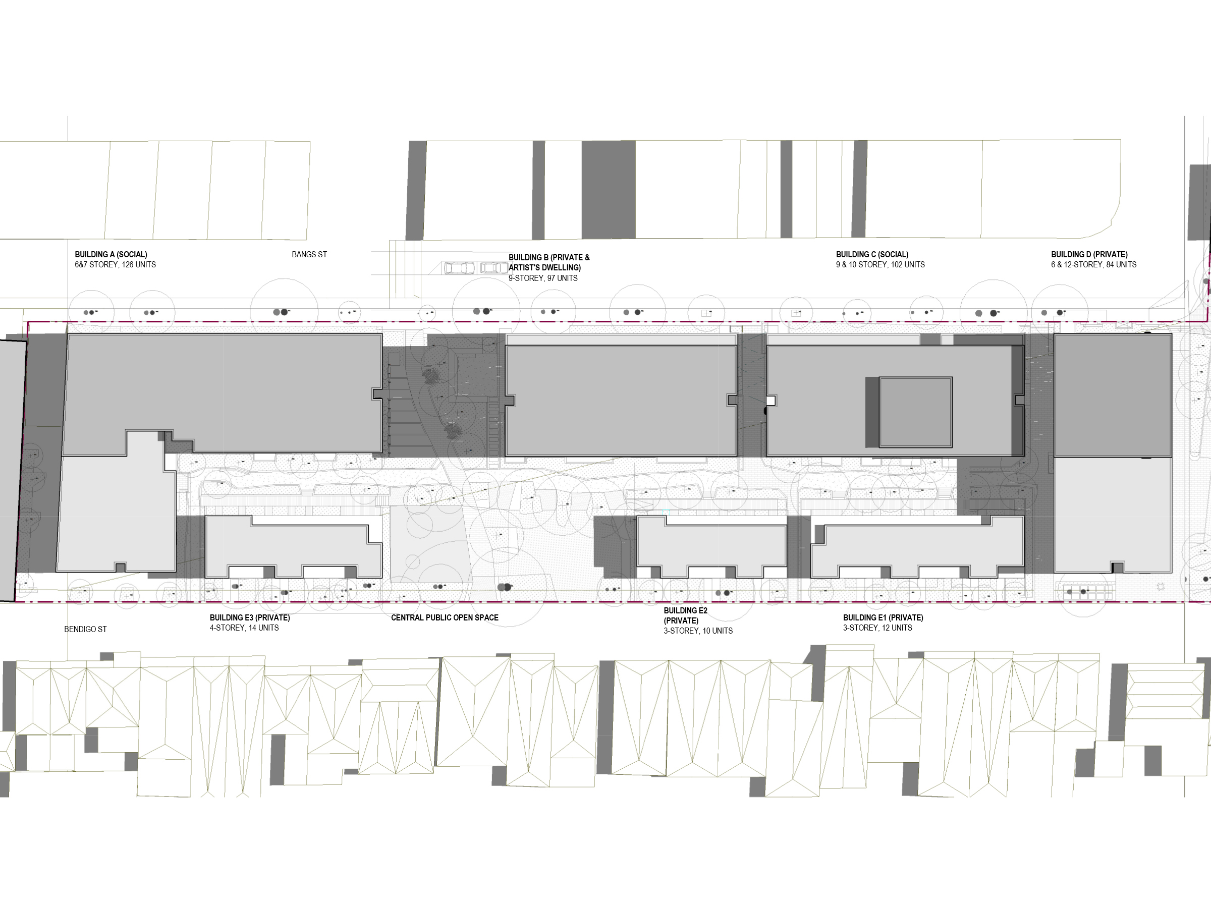 Diagram showing the shadows created by the new development in September at 12pm