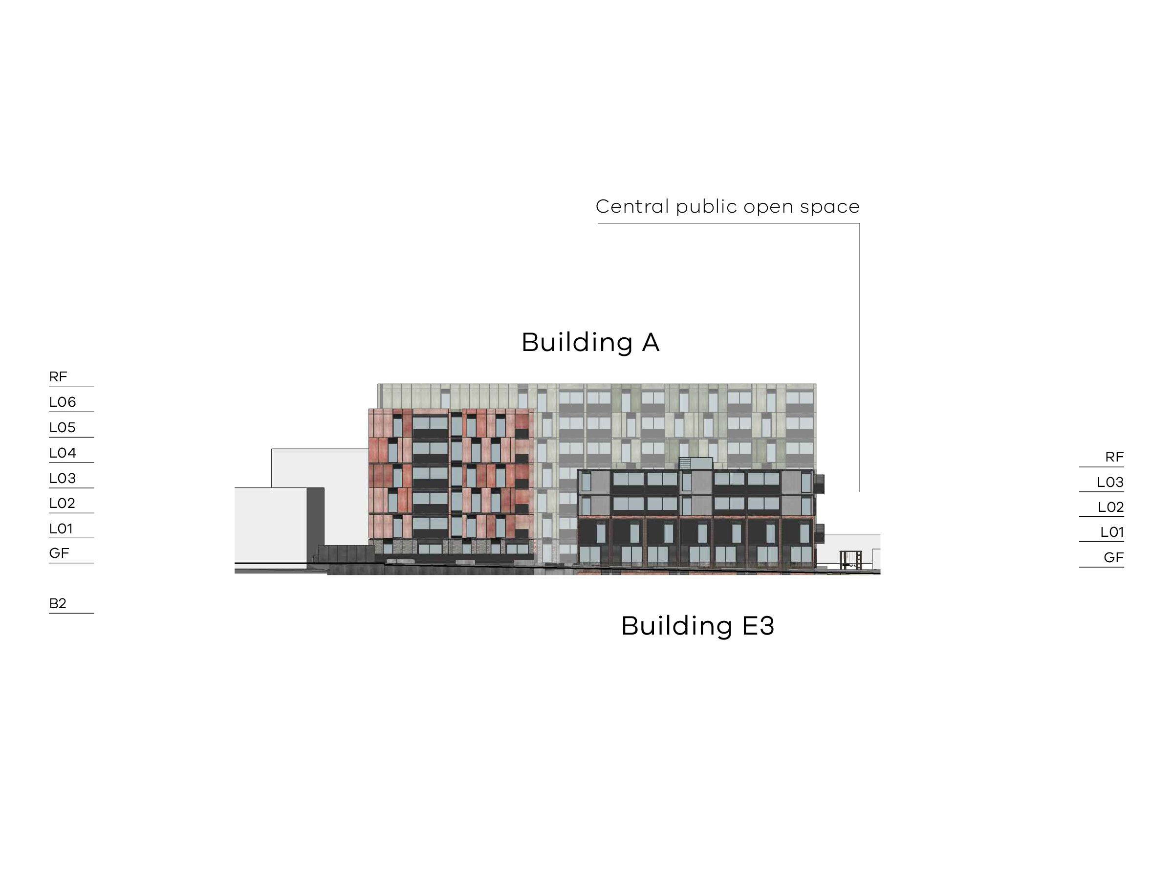 Diagram showing the heights of buildings A and E3 as seen from Bendigo Street, the rest of building A can be seen behind E3. Building A on Bendigo Street has a basement, a ground floor, level 1-5 and a flat roof. The part of building A behind E3 has a level 6 and flat roof. Building E3 has a ground floor, level 1-3 and a flat roof.