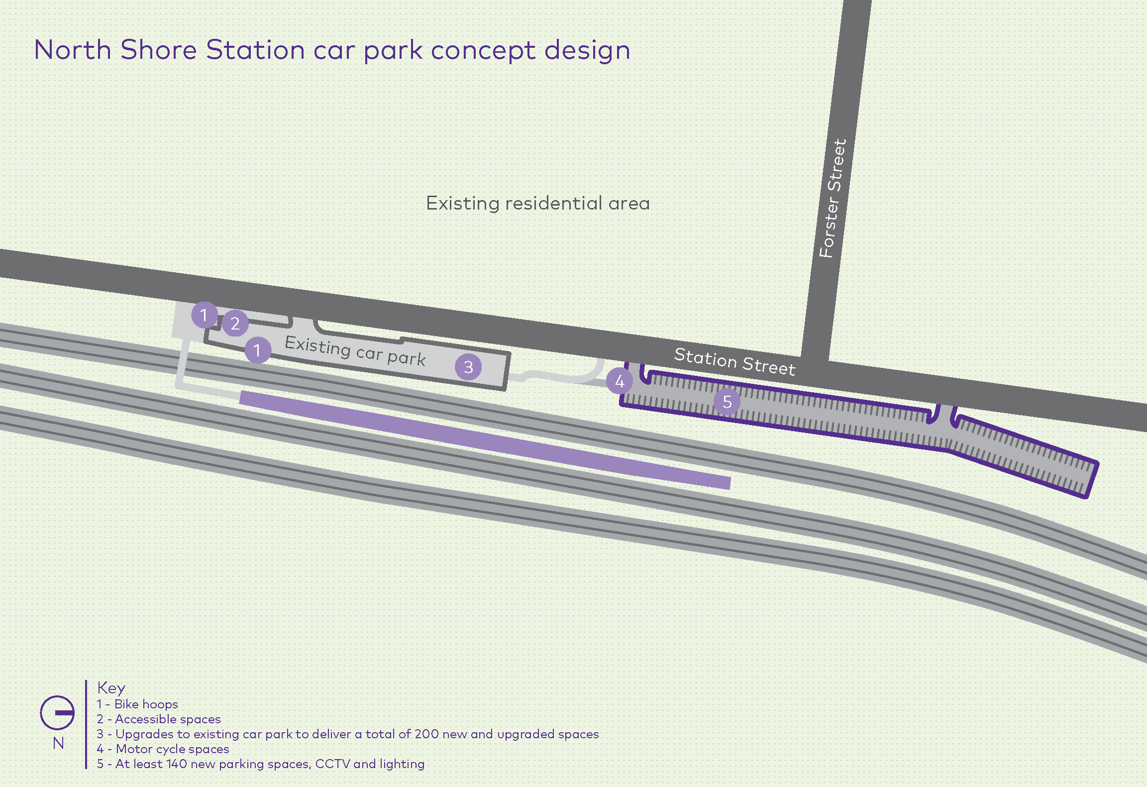 The concept design for the North Shore car park upgrade. The design shows the proposed assets to be constructed or upgraded including new car parking (including accessible spaces), bike hoops, motor cycle spaces, CCTV and lighting.