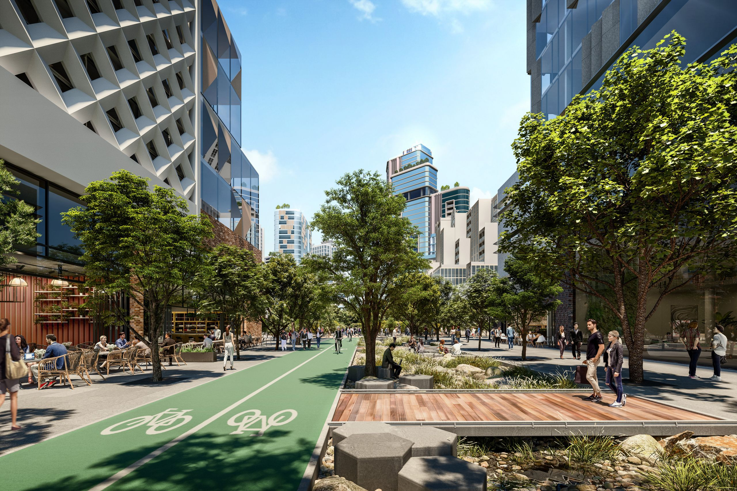 Artist impression of the future Arden precinct displaying public open space including cycle path, tree canopy and outdoor mixed-use areas