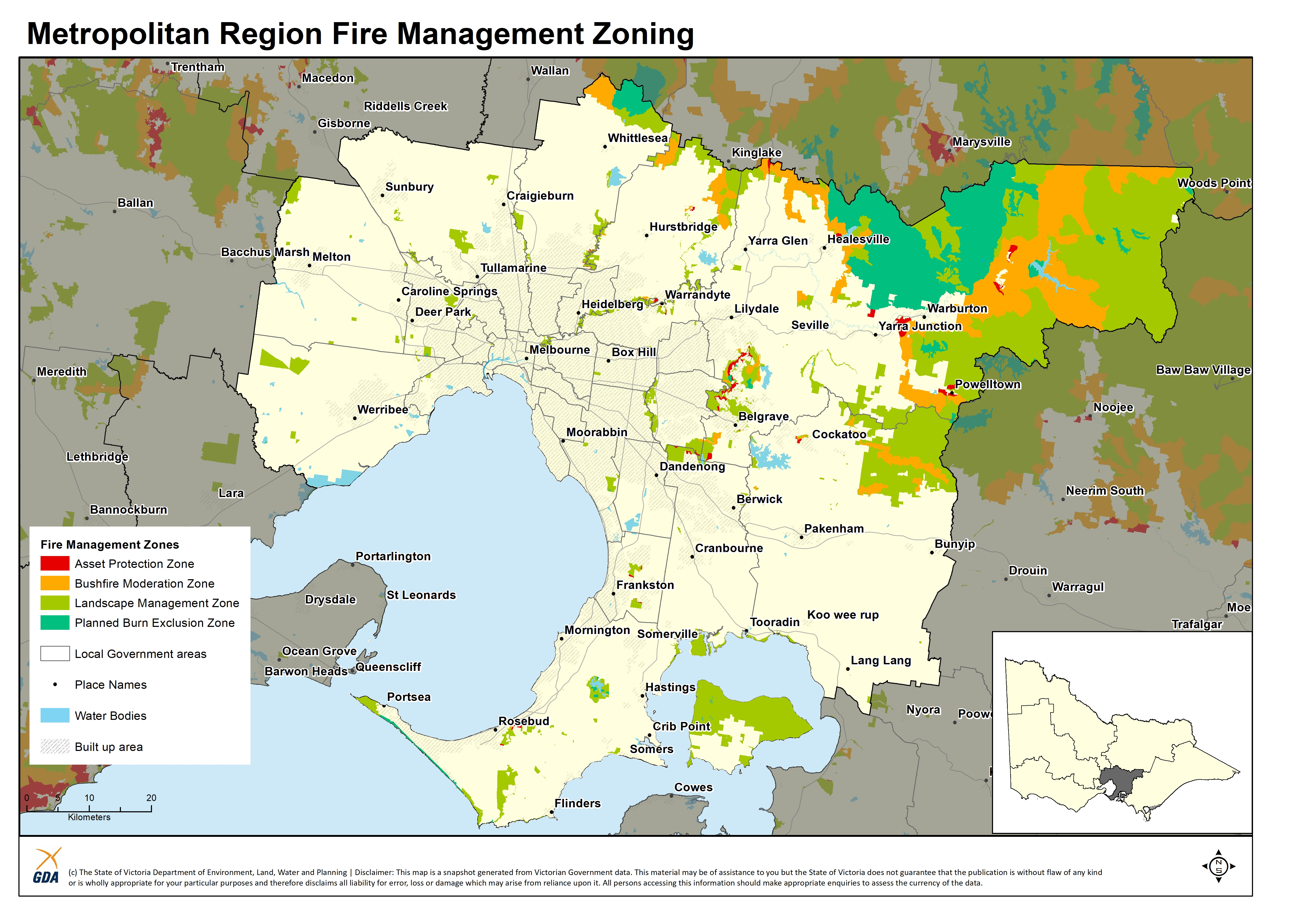 A map of the Fire Management Zones in the Metropolitan Region