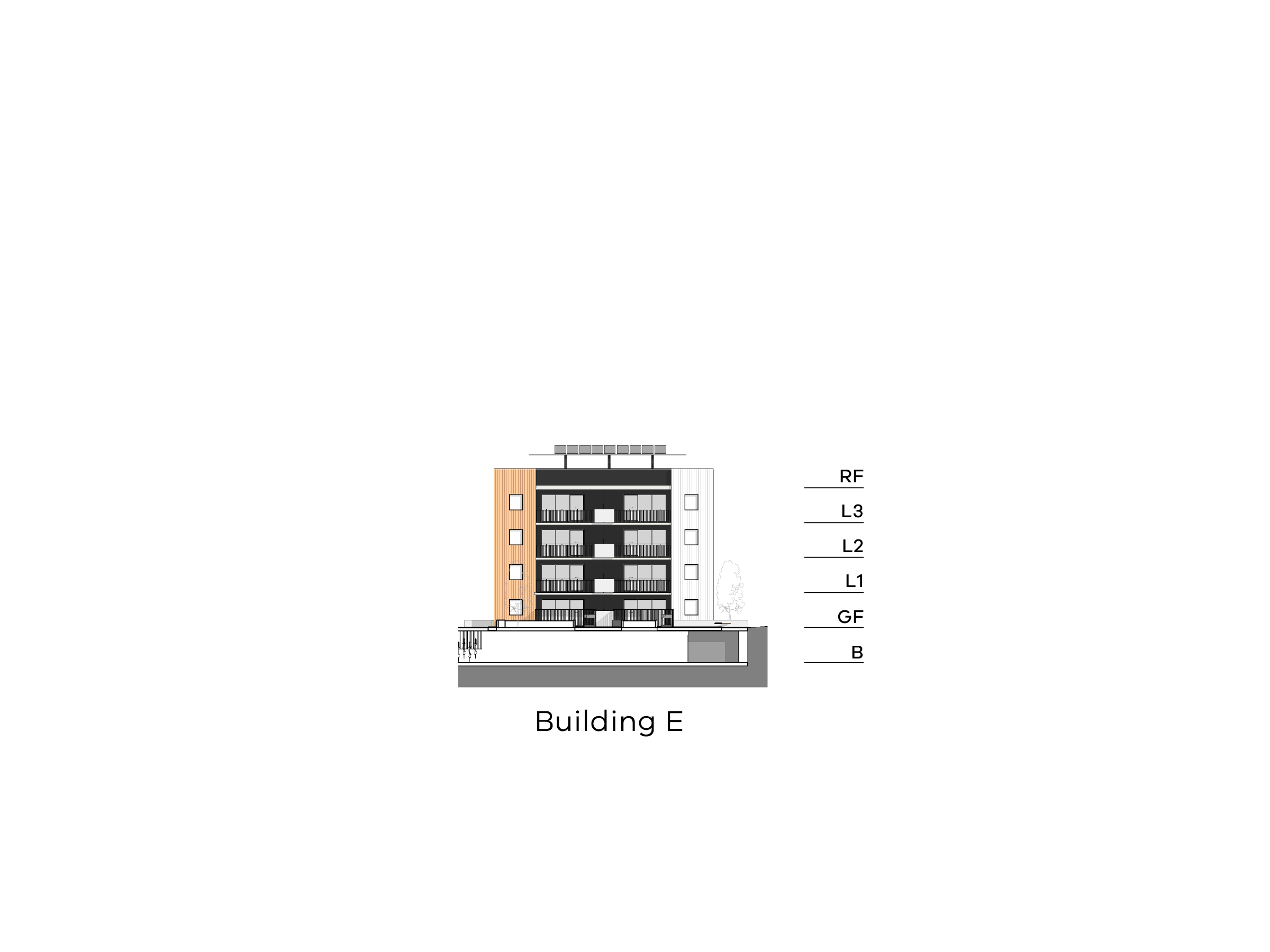 Diagram showing the height of building E as seen from the on-site walkway looking towards Hopetoun Child Care Centre. Building E has a basement, ground floor, level 1-3 and a flat roof.