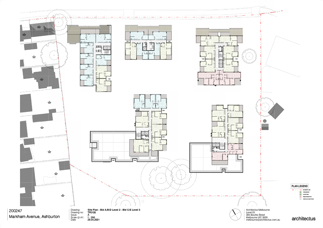 There are 5 buildings shown on this plan. Level 2 plans for Buildings A, B and D to the North and Level 3 Plans for Buildings C and E to the South.  Buildings A, B and C to the West are showing a mix of 1- and 2-bedroom apartments.  Building C to the South West is showing its western wing as roof.  Buildings D and E to the East are showing a mix of 2- and 3-Bedroom apartments. Building E to the South East is showing its Southern end as roof.