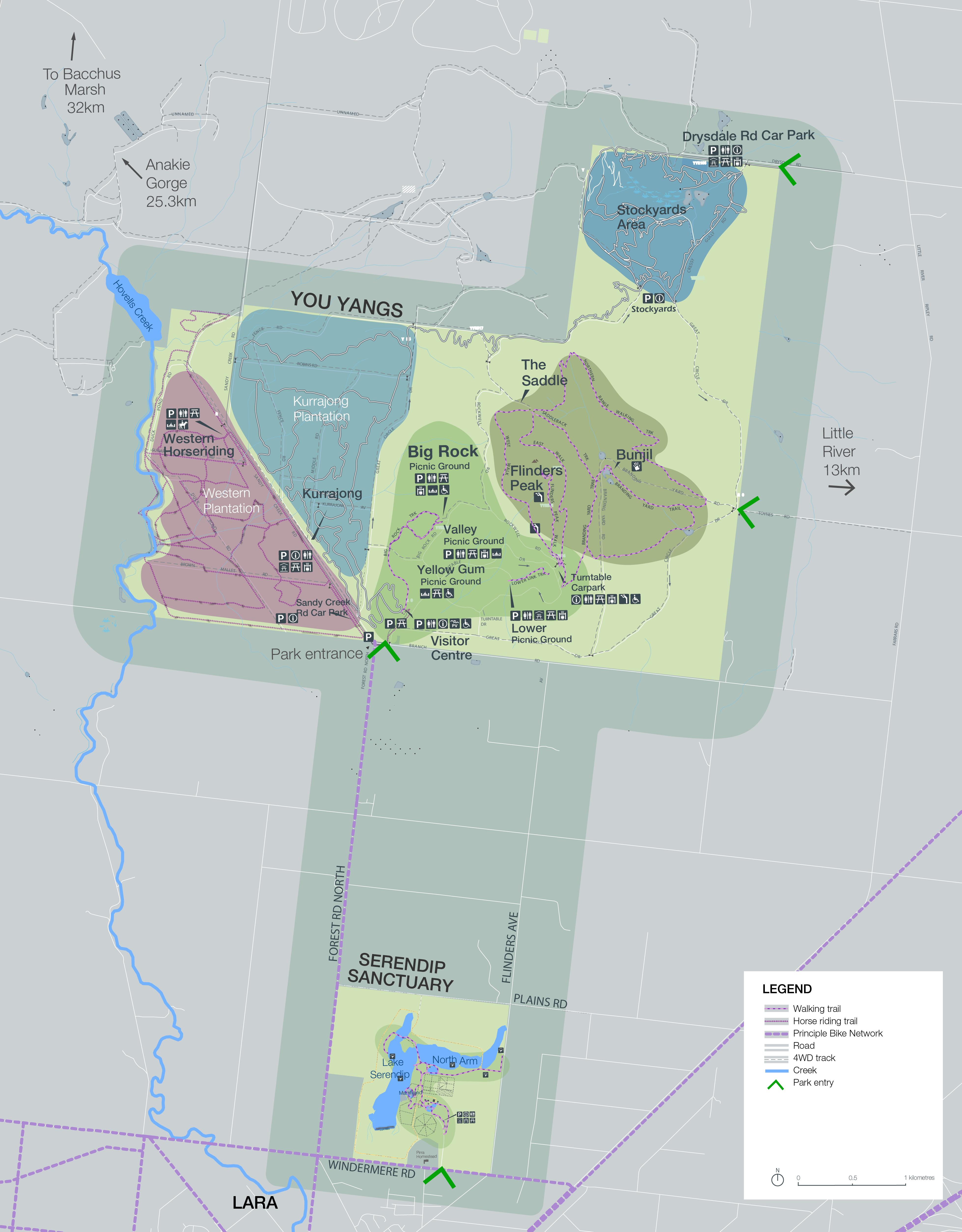 This is a map that includes the Western Plantation that is used for horse riding, in the center Big Rock, can be used for picnicking also has a visitor center, this also include Flinders Peak. The map shows the various entrances. In the north there is the