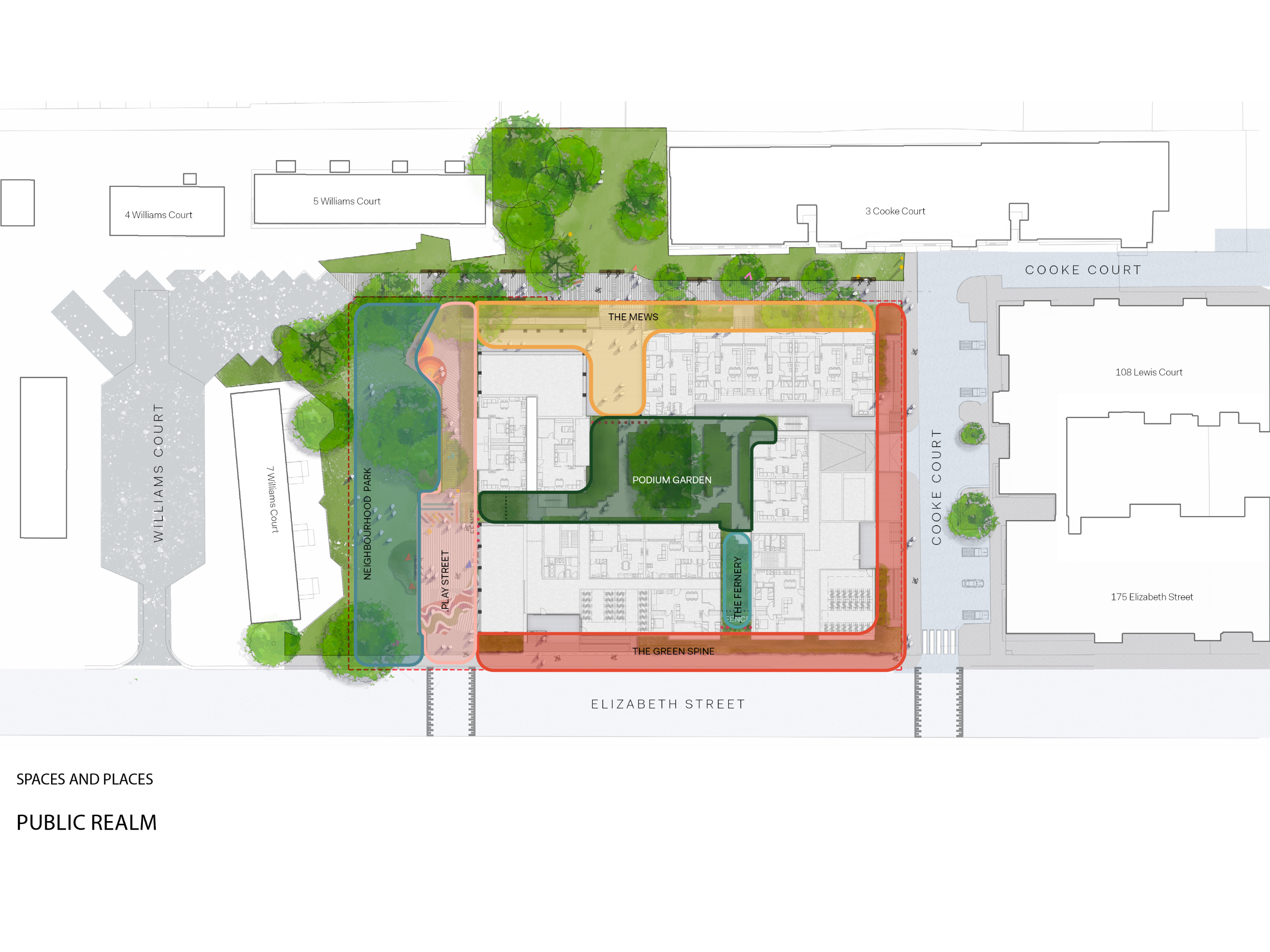 This plan shows the proposed development on the corner of Elizabeth Street and Cooke Court. Existing buildings around the proposed development are: 175 Elizabeth Street and 108 Lewis Court in the east, 3 Cooke Court, 4 and 5 Williams Court in the north and 7 Williams Court in the west. A neighbourhood park next to the existing dwelling on 7 Williams Court, west of the new development will be maintained with significant trees retained and new landscaping. An adjoining shared play street pedestrian path alongside the park will be created enabling better connection through the park for community. .  A space called The Mews will be enhanced on the north side, in between the new development and the existing pedestrian path that connects Cooke Court with Williams Court. Additional landscape will be provided to the pocket green space in between the existing dwellings on 5 Williams Court and 3 Cooke Court. The Green spine runs along the south (Elizabeth Street) and the east side (Cooke Court) of the new development, softening and greening the edge of the building and providing privacy for residents. A private resident podium garden is proposed in between the 4 proposed buildings. The Fernery connects the podium garden with The Green Spine on Elizabeth Street.