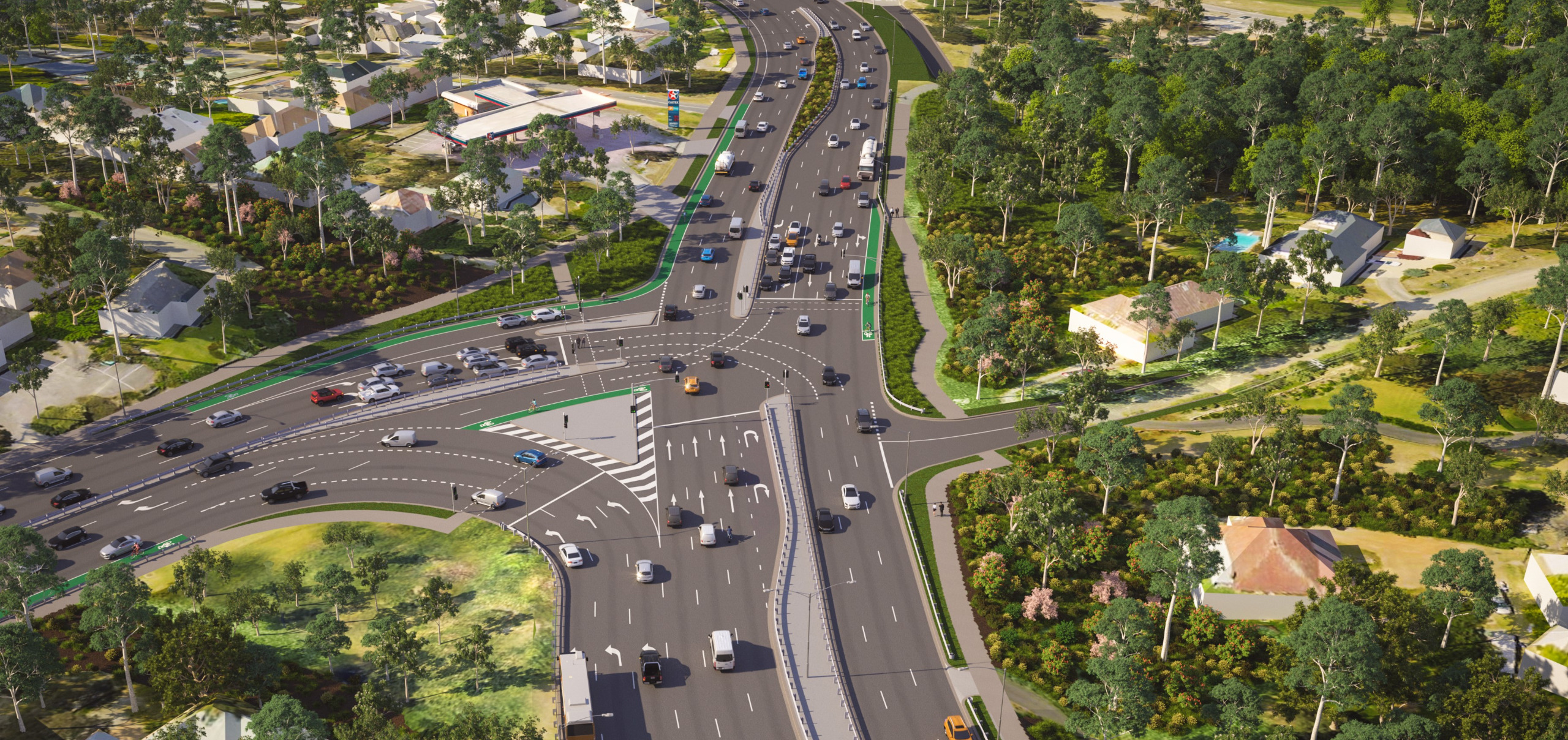 Image of an artist's impression of the aerial view of the Fitzsimons Lane and Main Road intersection- looking towards Eltham