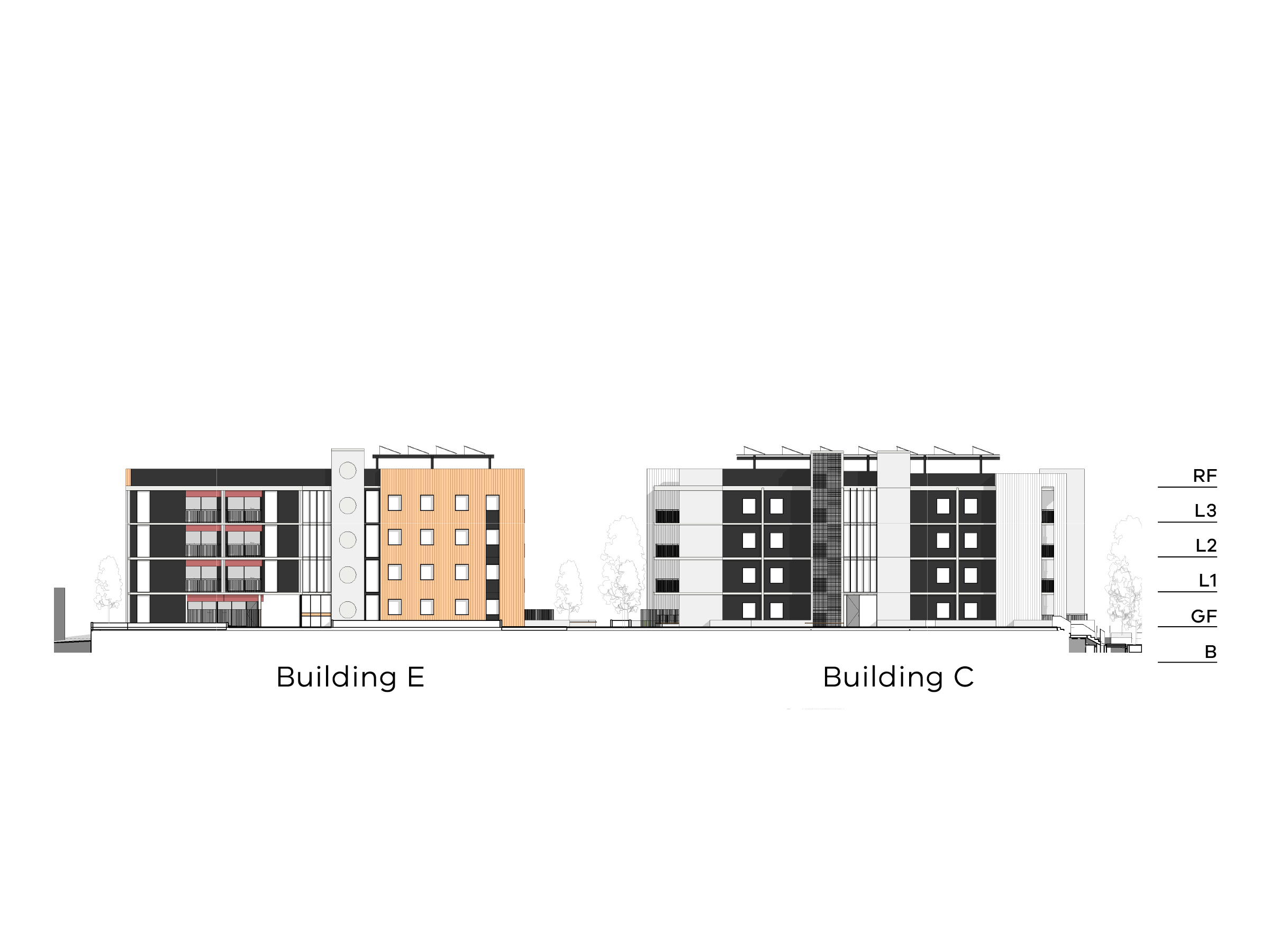 Diagram showing the heights of buildings C and E as seen from the onsite walkway looking towards Victoria Street. Buildings C and E have a basement, ground level, level 1-3 and a flat roof.