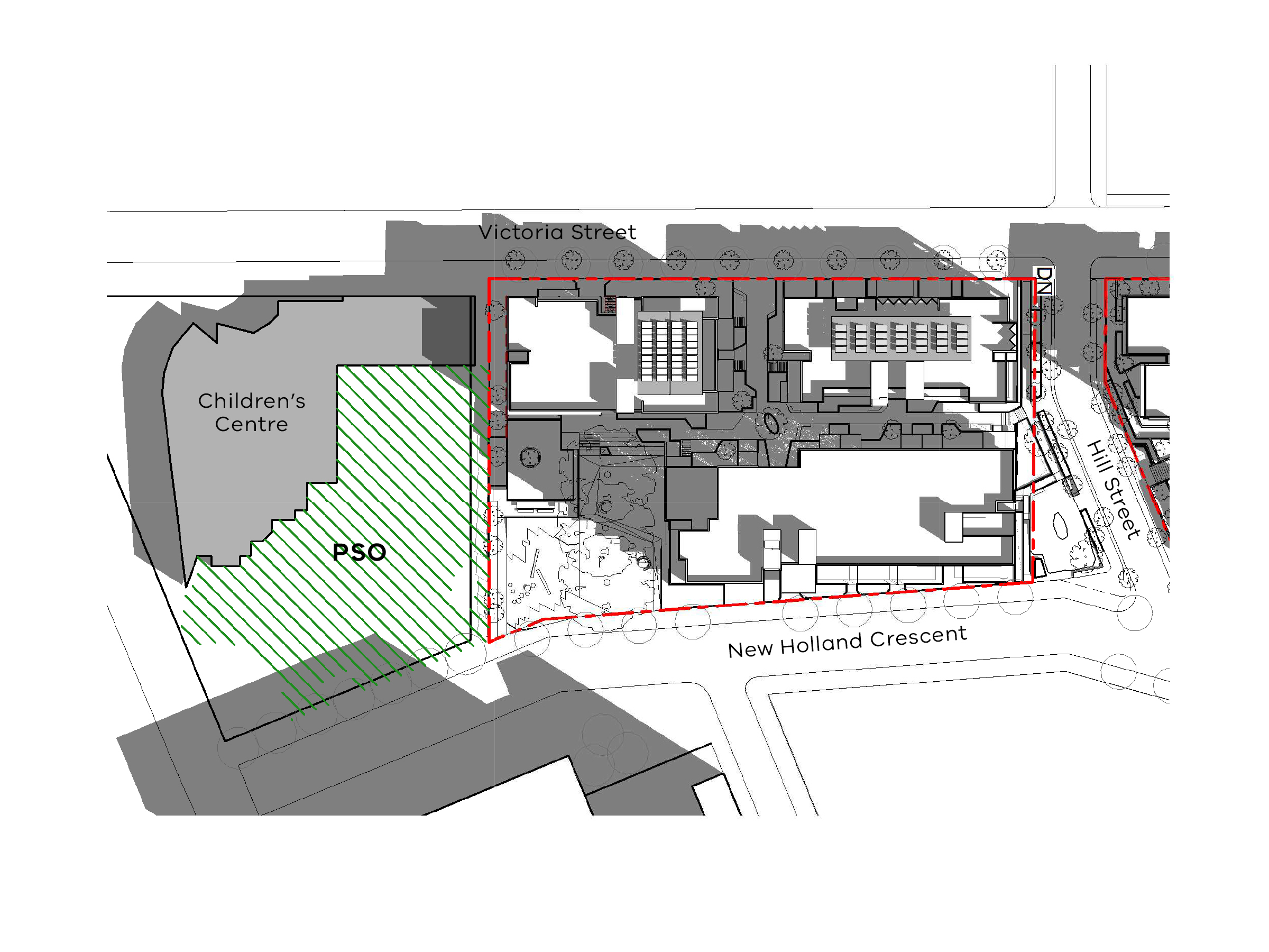 Diagram showing the shadows created by the south site of the new development in September at 9am