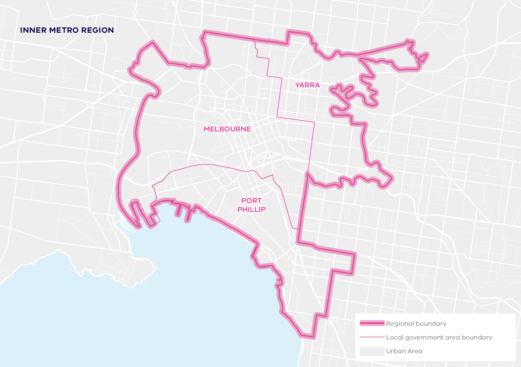 This map shows the boundary for the Inner Metro region and local government areas. The Inner Metro region includes Yarra, Melbourne and Port Phillip local government areas.