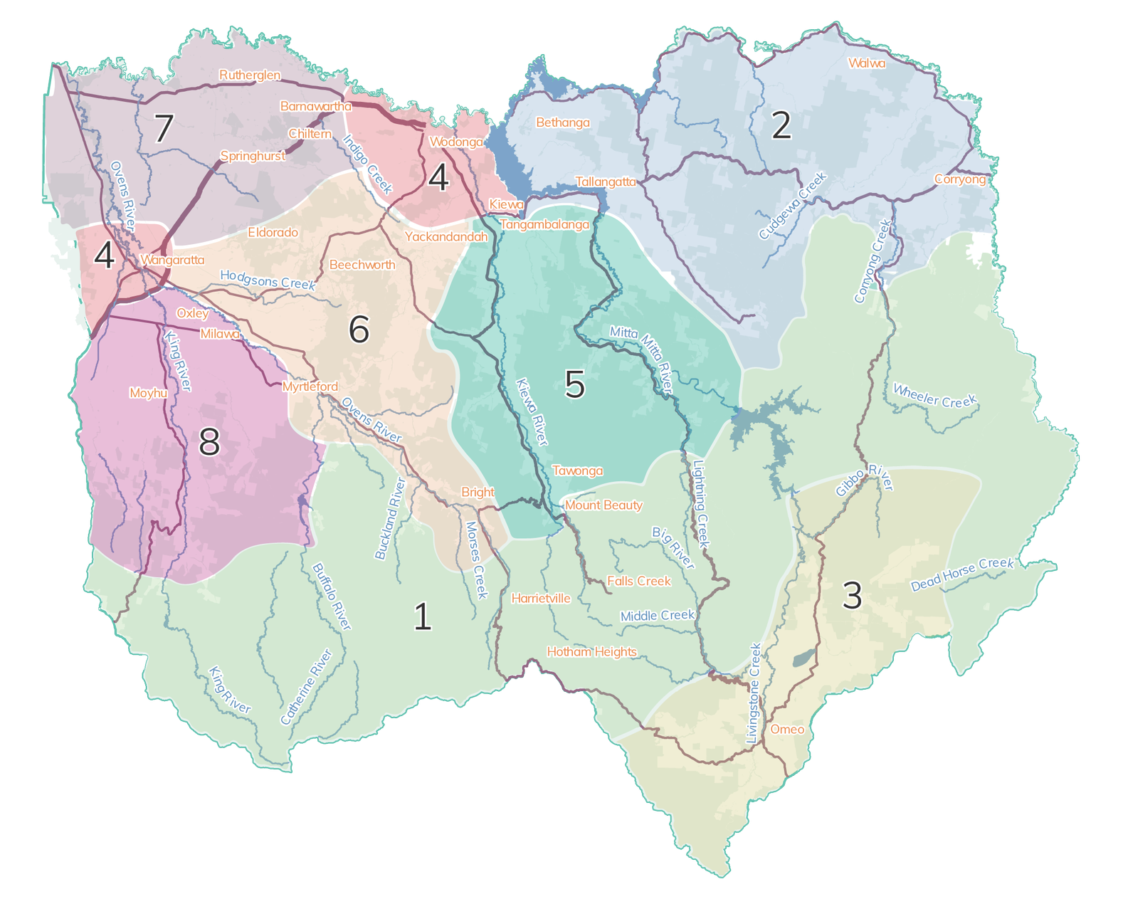 The map shows the eight local landscapes identified for the purpose of local planning as part of the RCS.