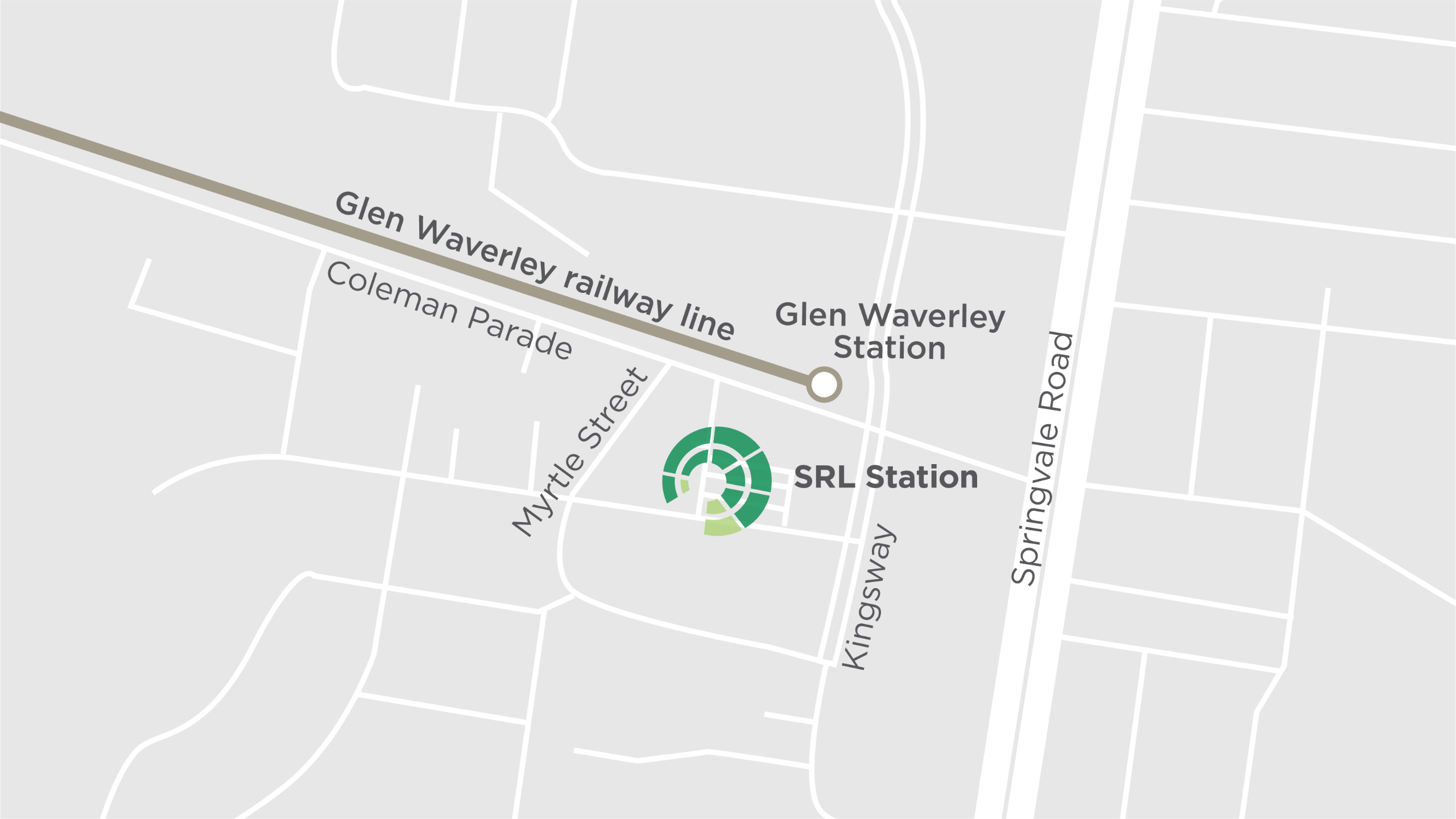 This map shows the new Suburban Rail Loop underground train station at Glen Waverley, proposed to be located west of Springvale Road.