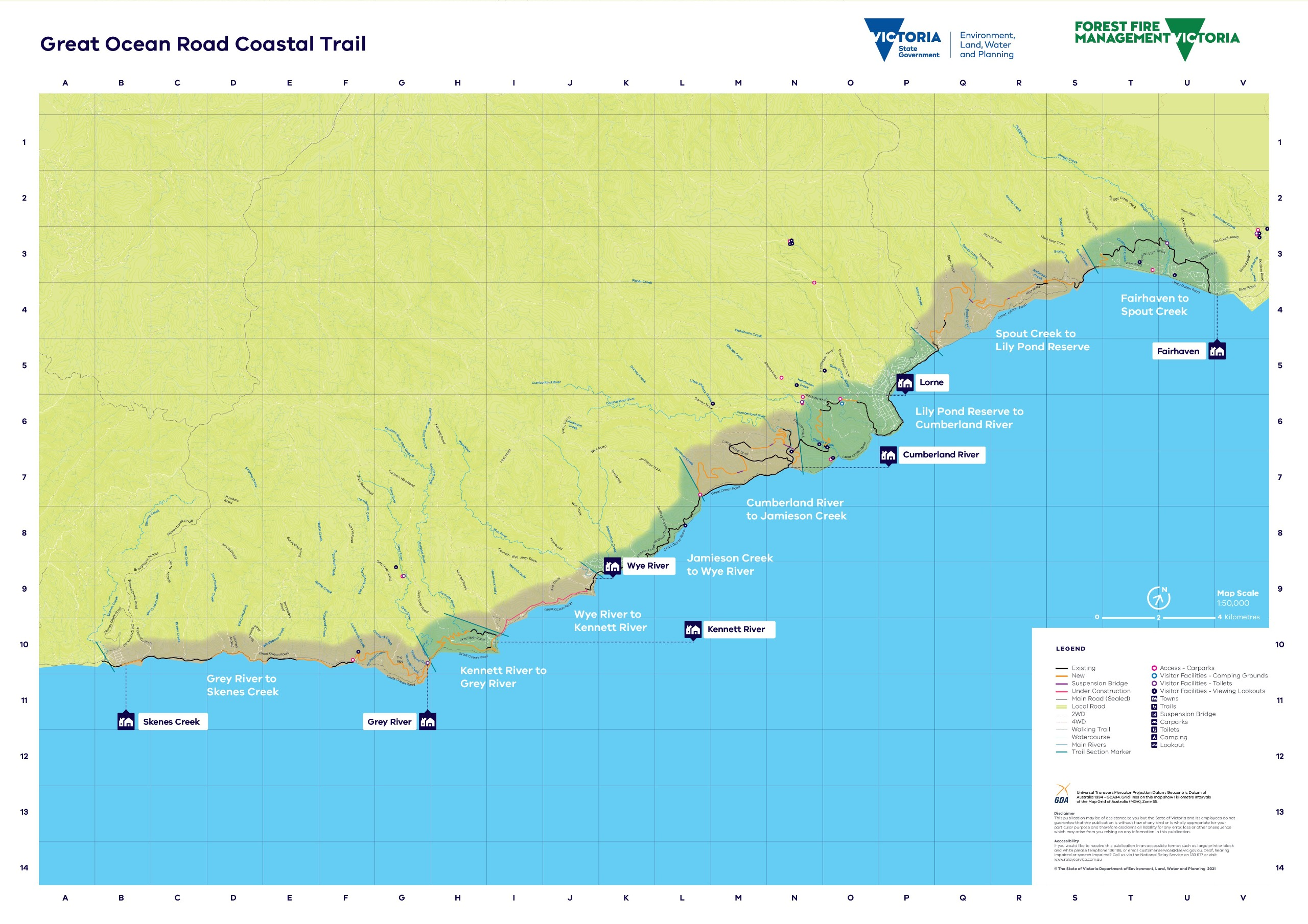 Illustrated map showing the entire proposed route of the Great Ocean Road Coastal Trail from Fairhaven to Skenes Creek. This shows towns along the way, trail sections and new vs existing trail.