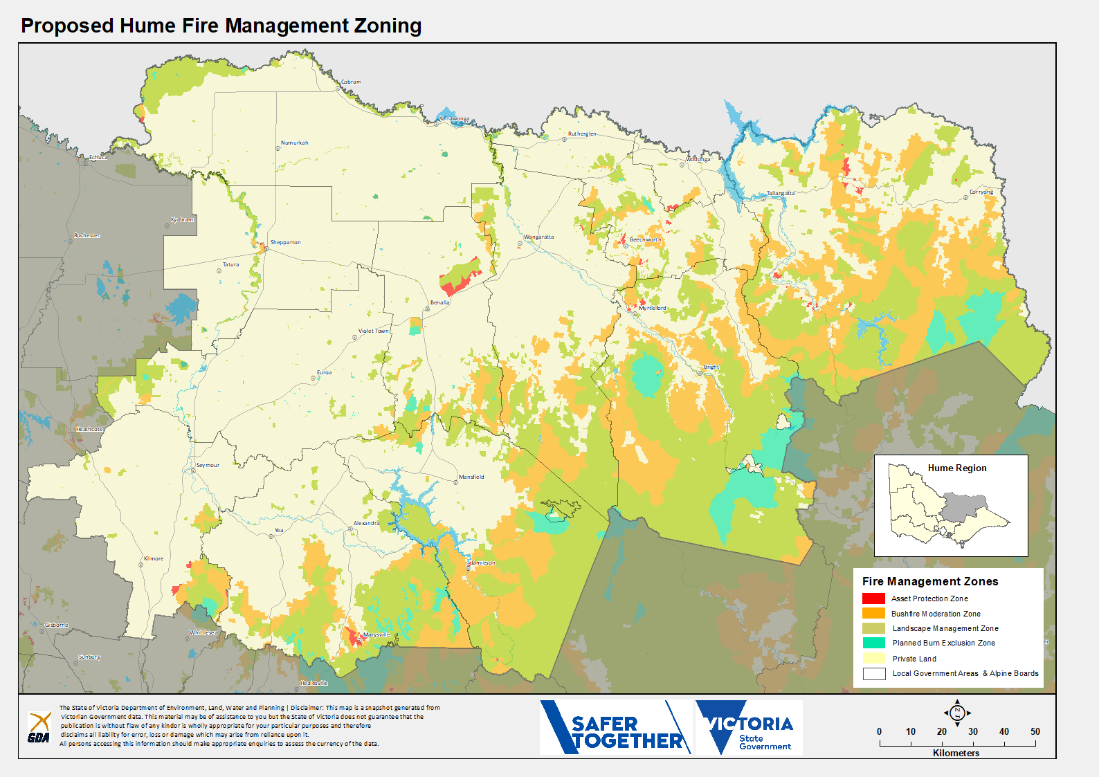 A map of the proposed Fire Management Zones in the Hume Region