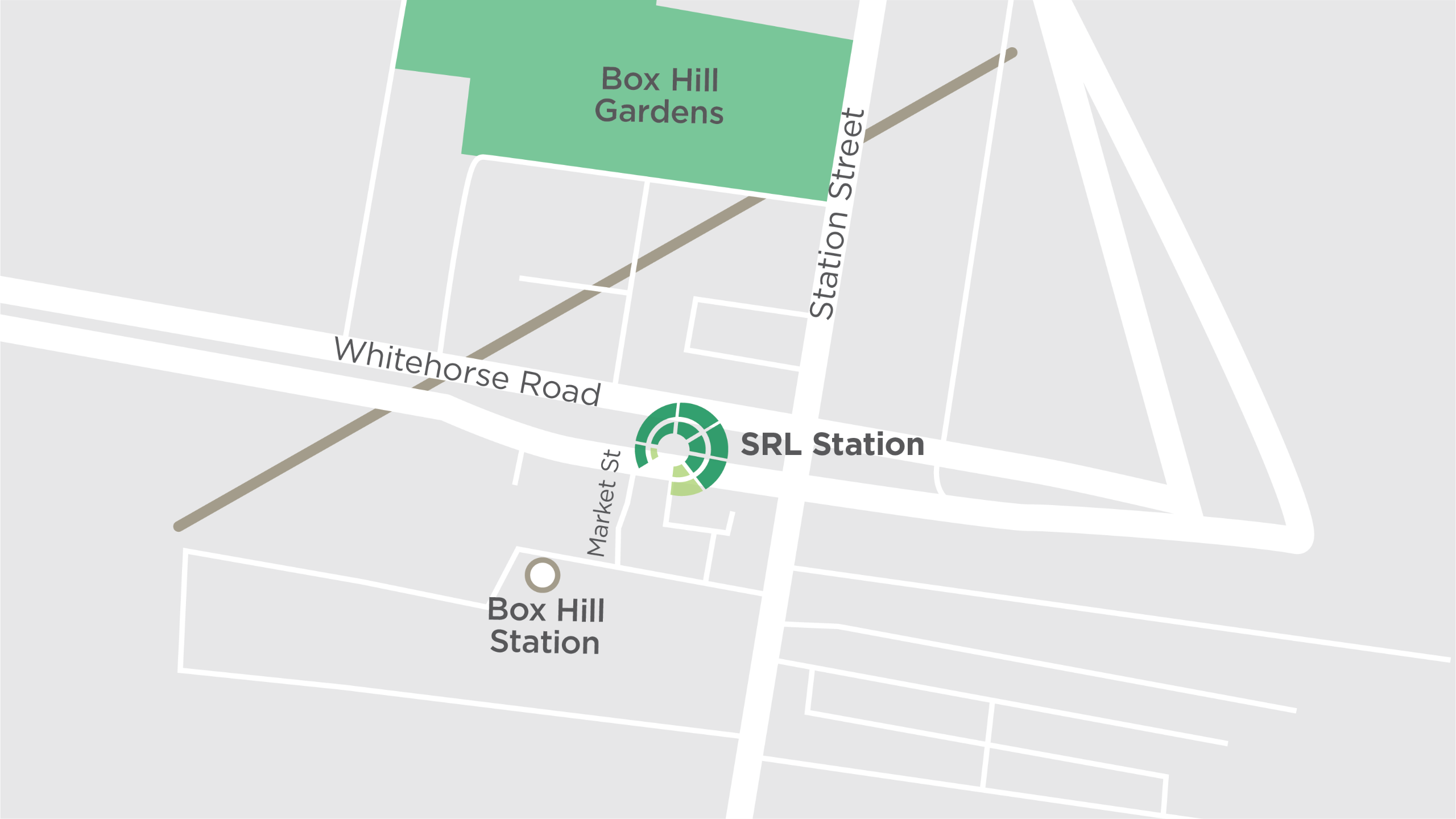 This map shows the new Suburban Rail Loop underground train station at Box Hill, proposed to be located in the heart of the activity centre.
