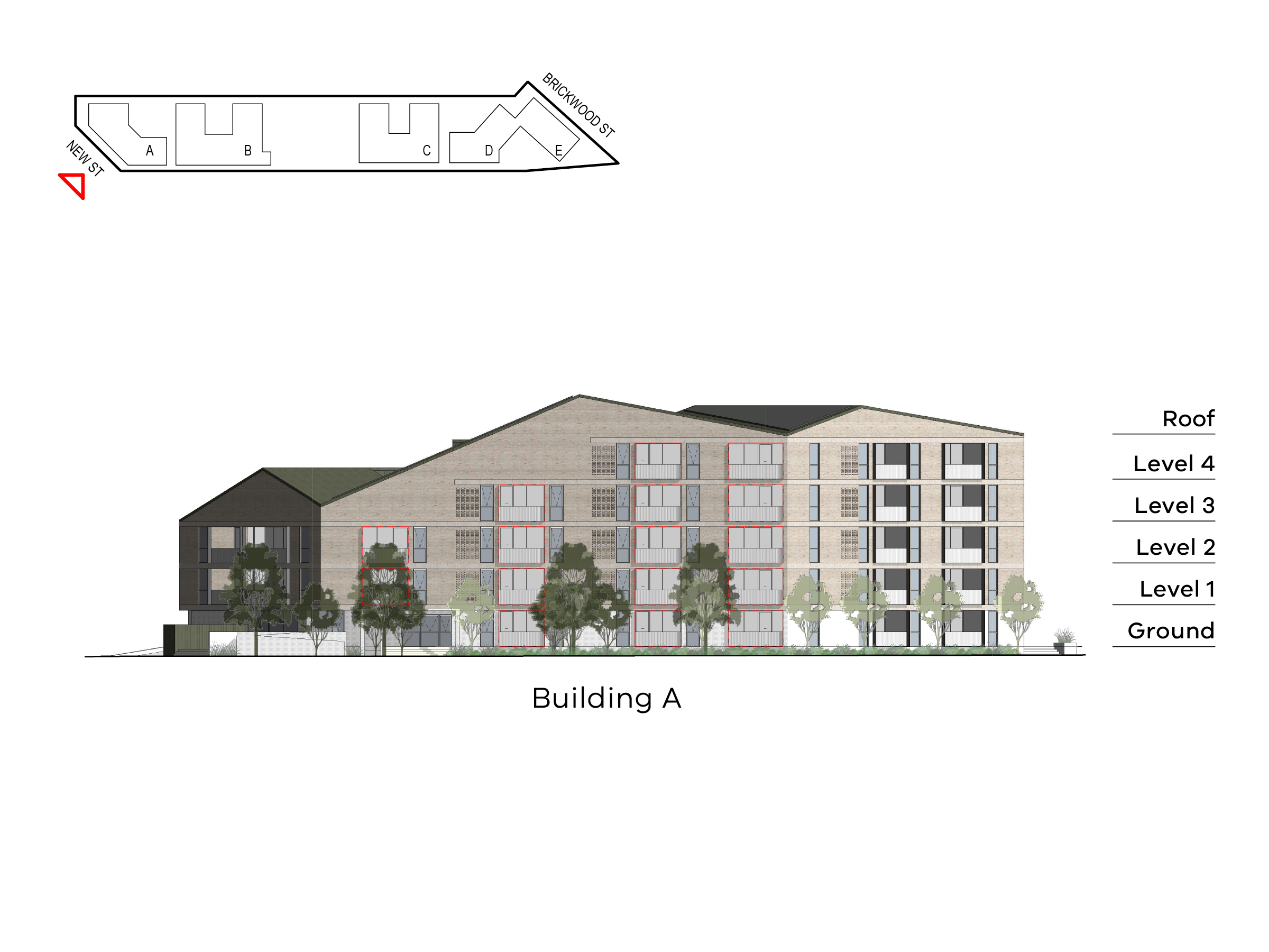 Diagram showing the height of building A as seen from New Street. Building A has ground level, floor 1-4 and a roof on the Elster Creek side, ground floor, level 1-3 and a roof in the middle and ground floor, level 1-2 and a roof on the Rusden Street side.