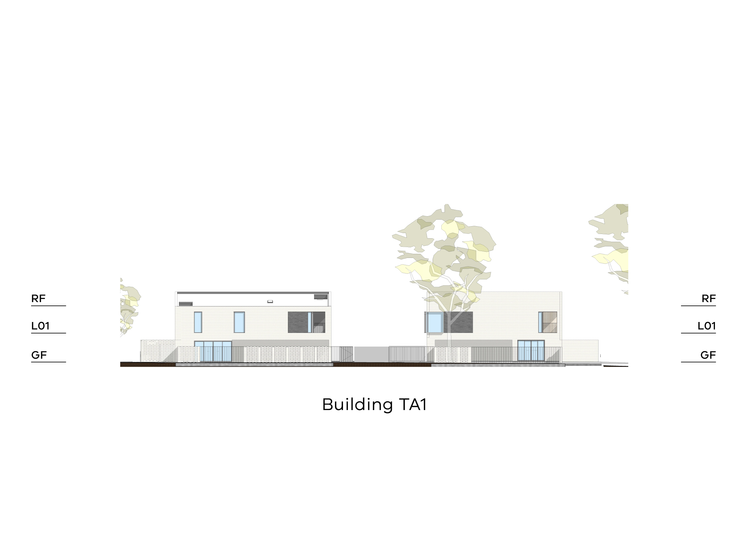 Diagram showing the height of building TA1 as seen from TarakanStreet. Building TA1 has a ground floor, a level 1 and a sloped roof.