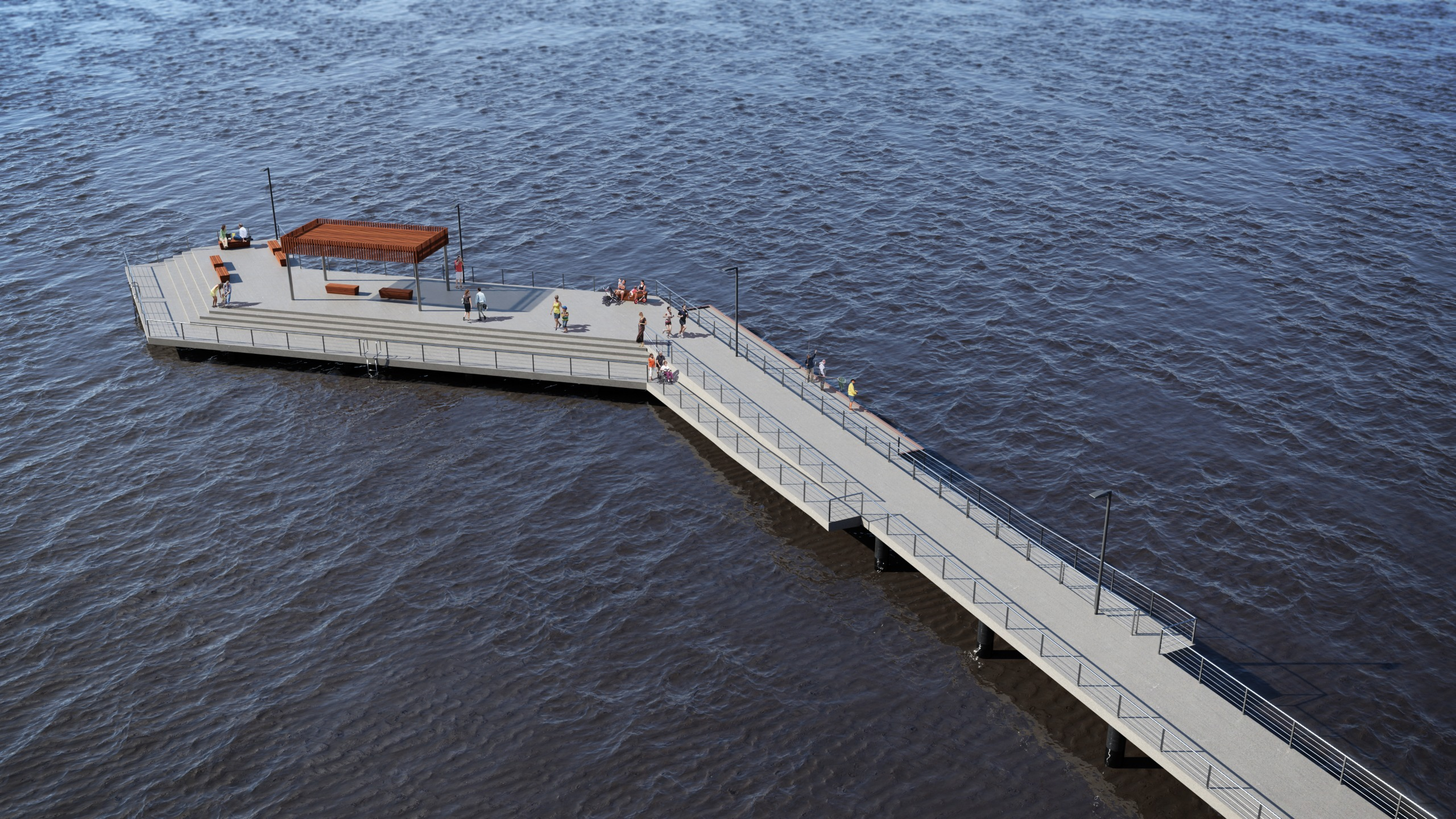 Picture of a pier with a angled head and additional seating and shelter.