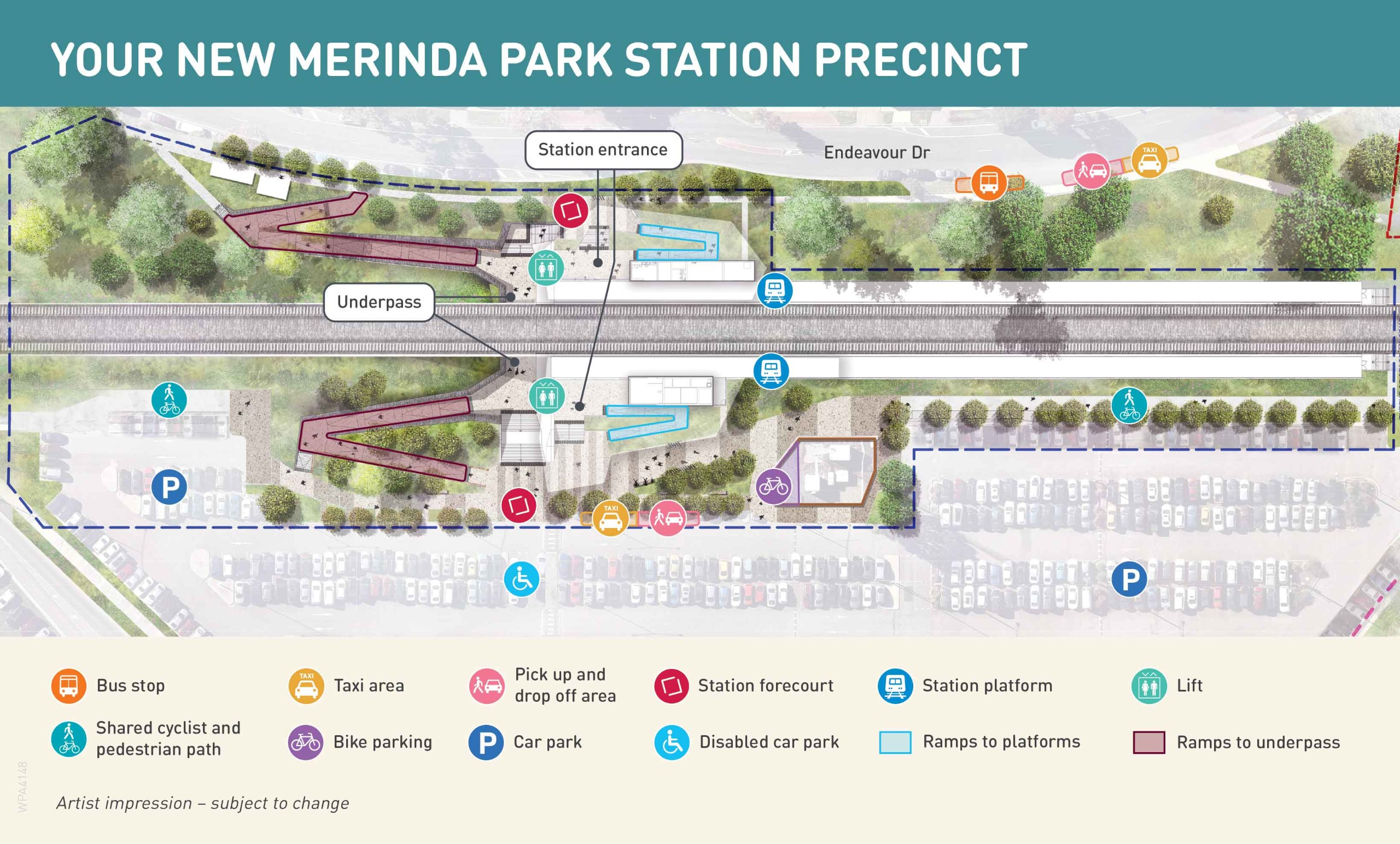 Map showing features of the new Merinda Park Station precinct. Refer to text below for more information.