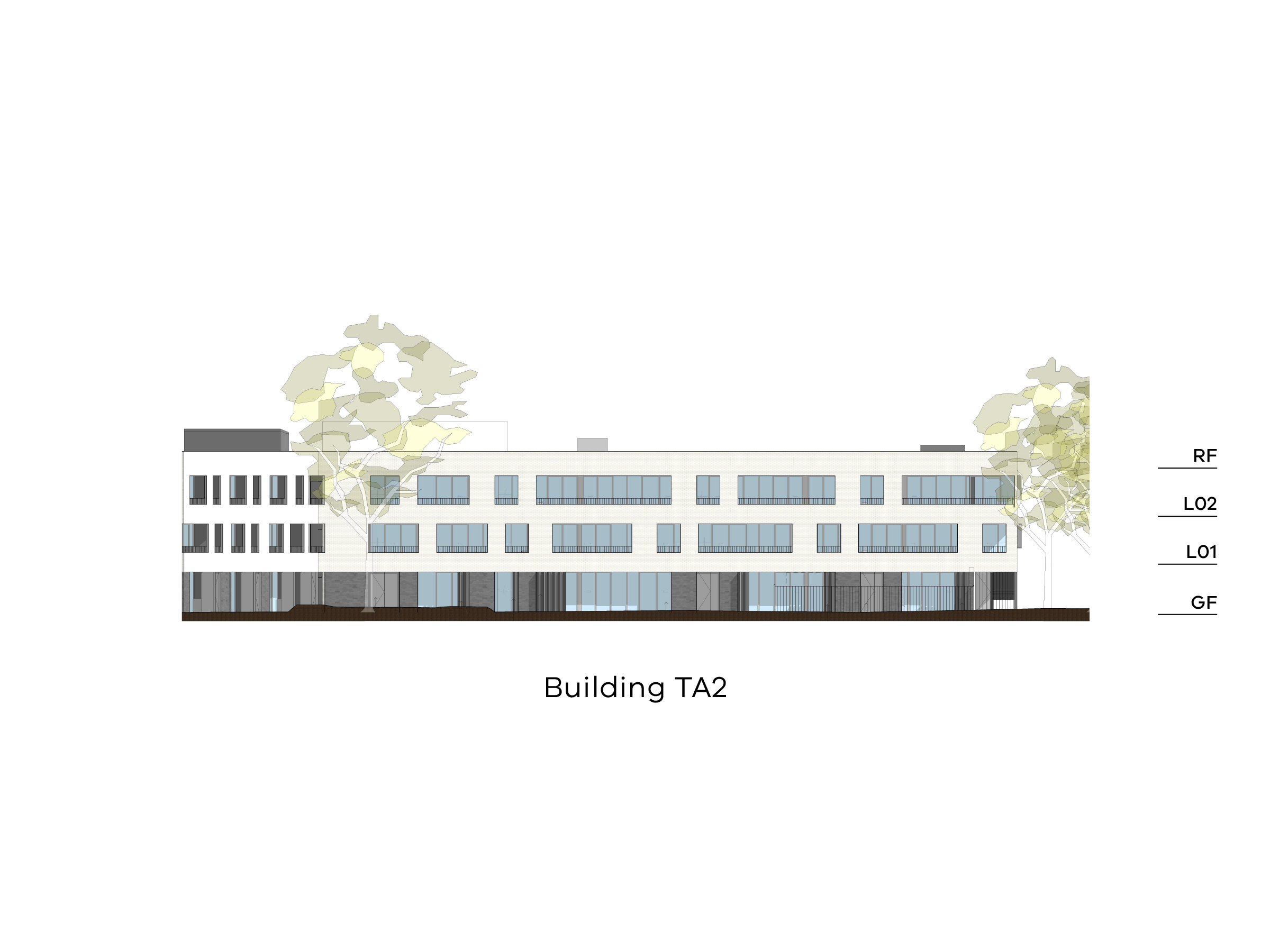Diagram showing the height of the northern part of building TA2 as seen from the on-site park looking towards Tarakan Street. Building TA2 has a ground floor, level 1-2 and a flat roof.