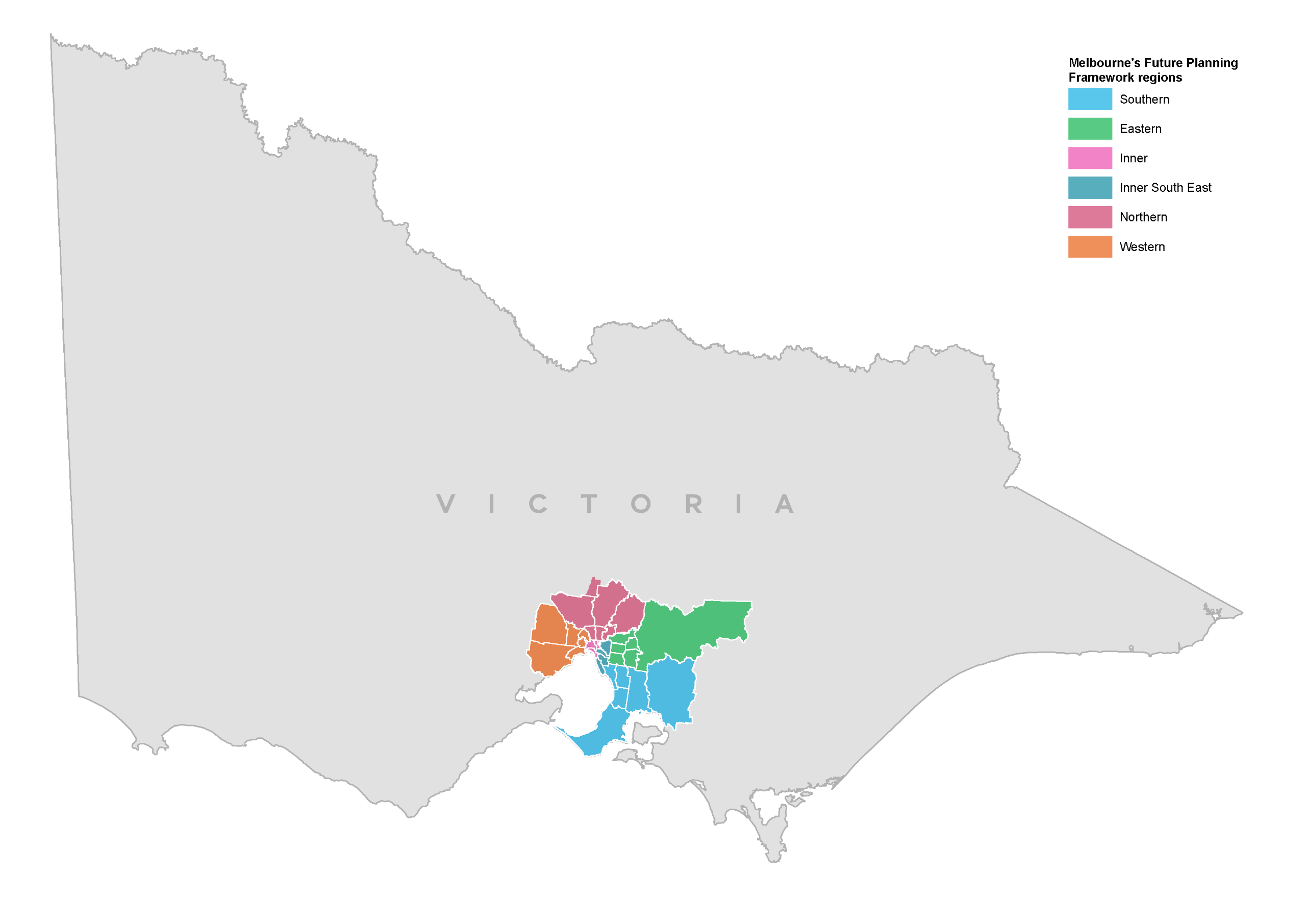 A map of the state of Victoria identifying the location of each of the six regions for the Land Use Framework Plans