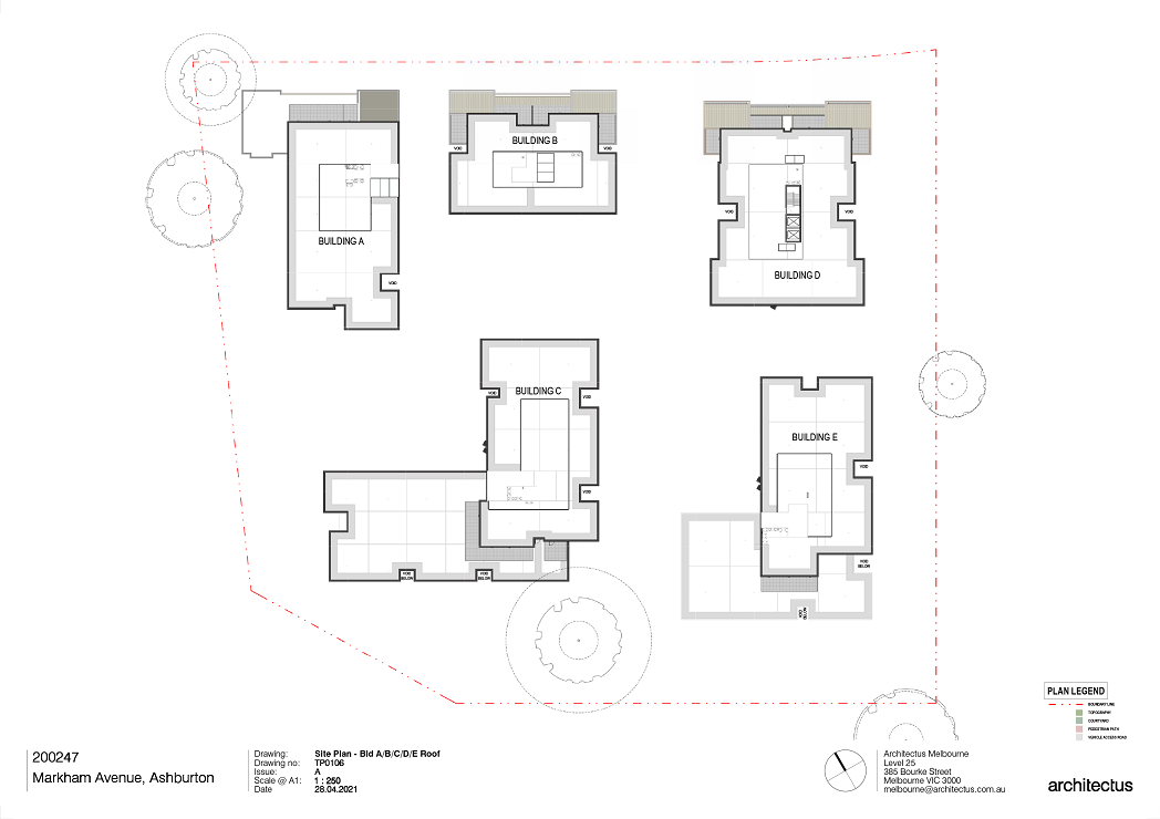 This plan is showing the roof layout for all 5 buildings A, B, C, D and E.