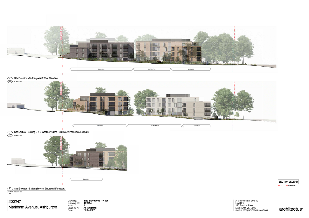 This sheet is showing 3 elevational drawings: 1.Building A & C West Elevation  2.Building D & E West Elevation and  3.Building B West Elevation  The first elevation of Building A & C West Elevation is showing a lush, landscaped courtyard located between the 2 buildings  The second elevation of Building D and E West elevation is showing the main Central accessway and Footpath from Markham Avenue down to the Creek with main access points to the buildings. There is also a courtyard located in front of Building E.  The third elevation of Building B West elevation shows building B as a 3 storey brick building.