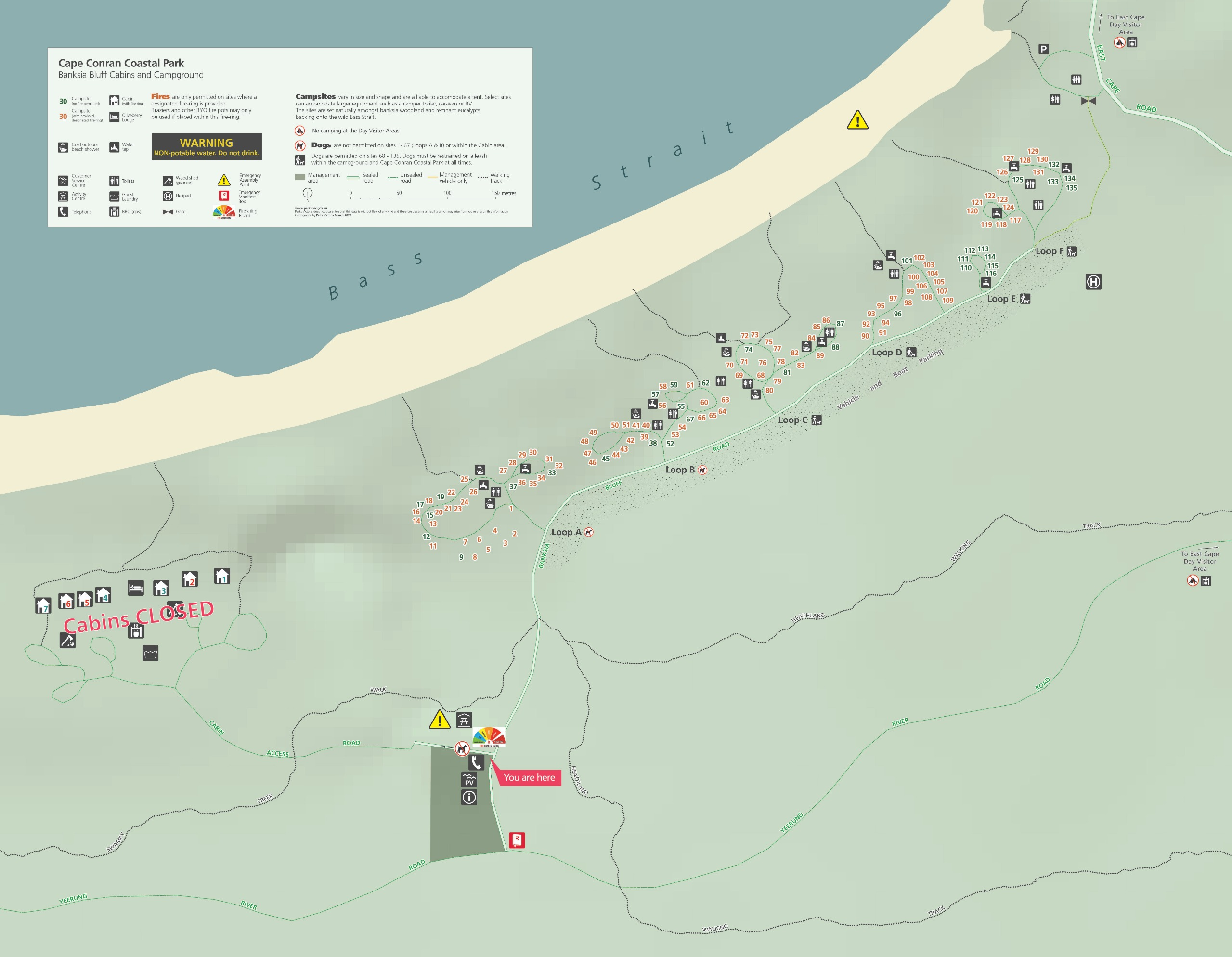 Map of Banksia Bluff Campground at Cape Conran Coastal Park