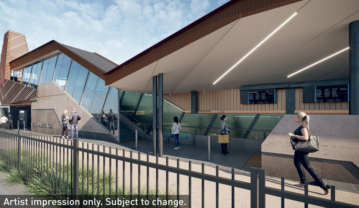 An artist impression of Edithvale Station at completion. Includes the new station with a signalised pedestrian crossing with stairs and lifts to reach the platform.