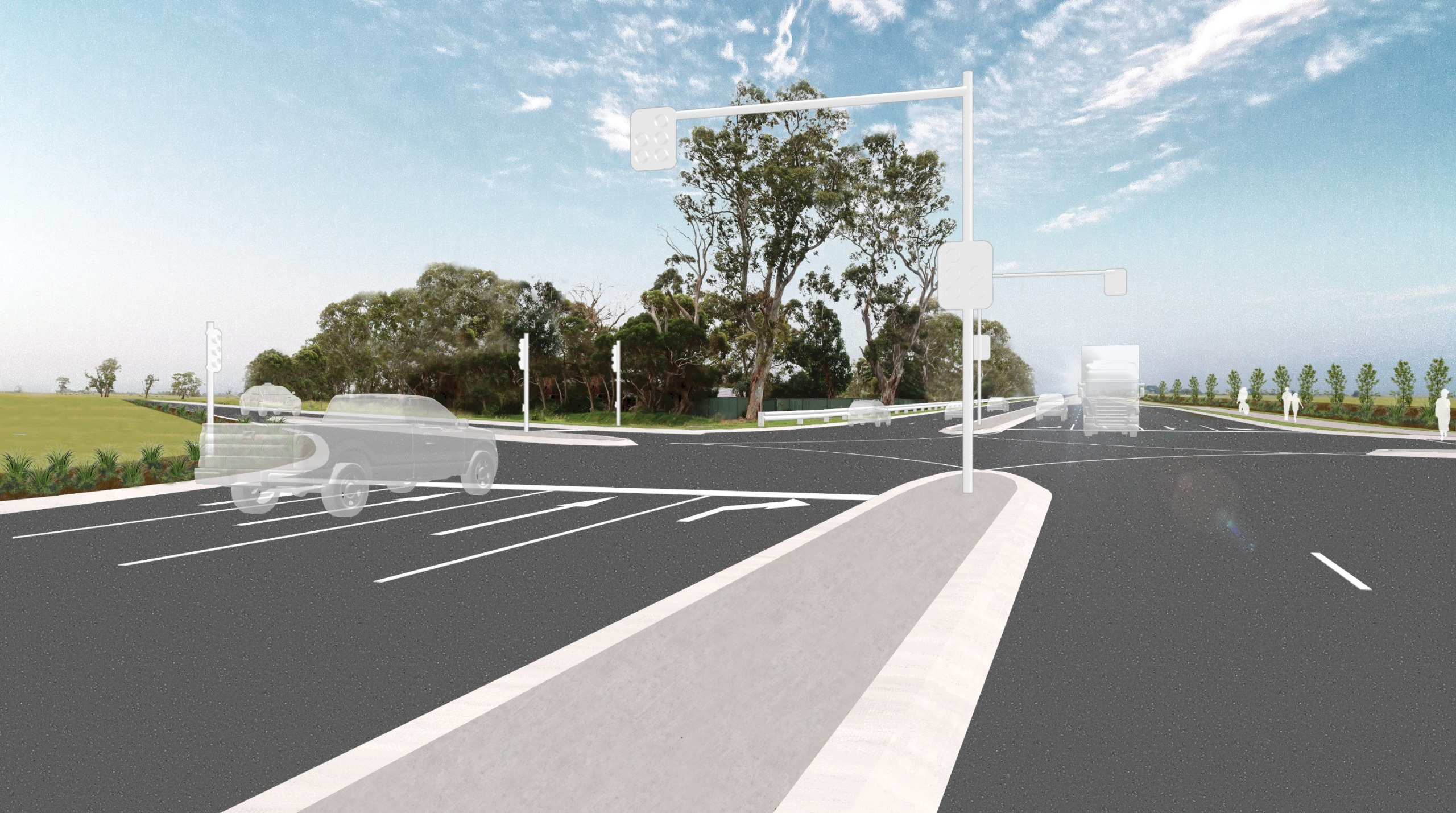 Artist's impression of Taylors Road intersection 1 year after project completion
