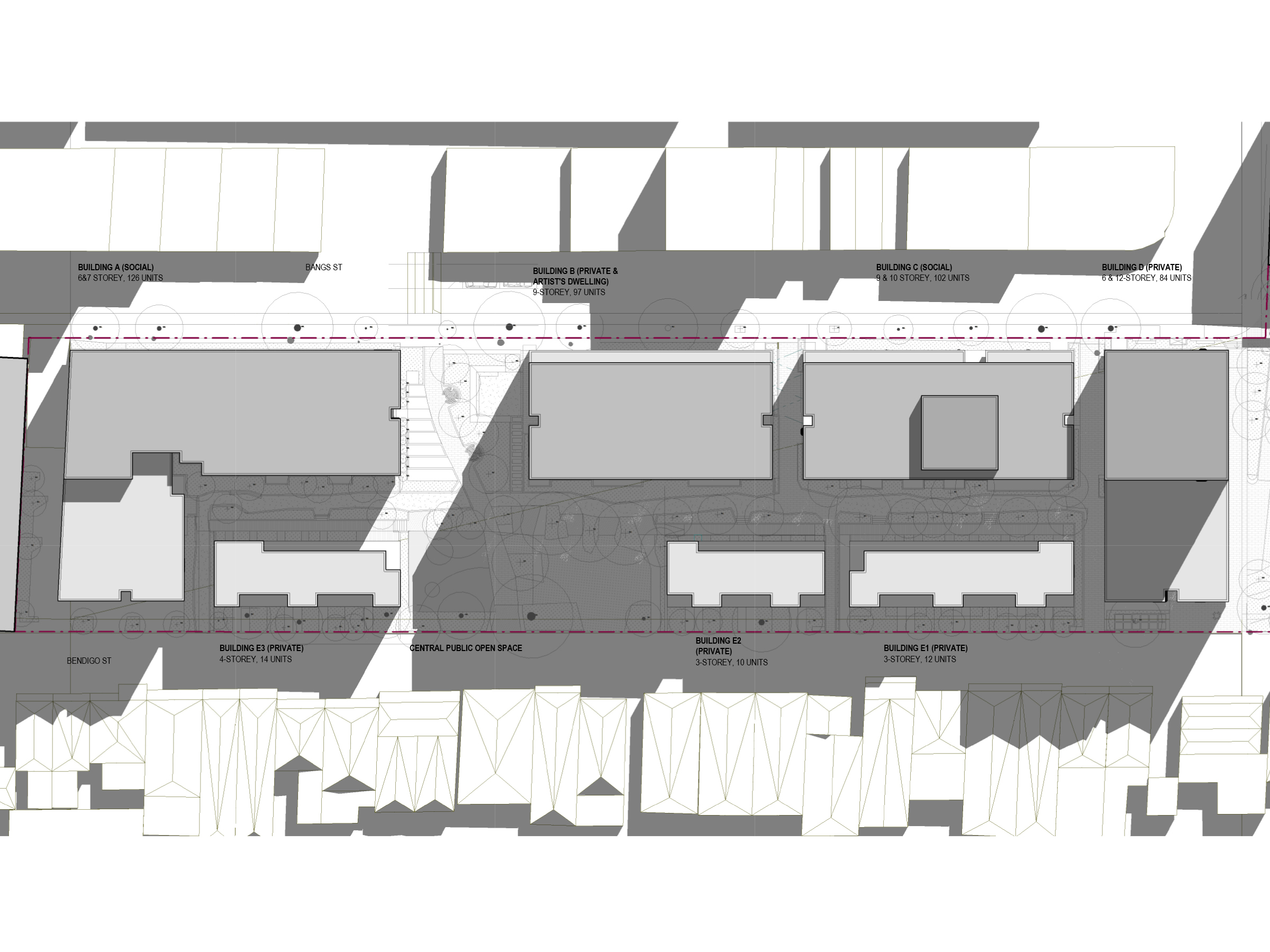 Diagram showing the shadows created by the new development in September at 3pm