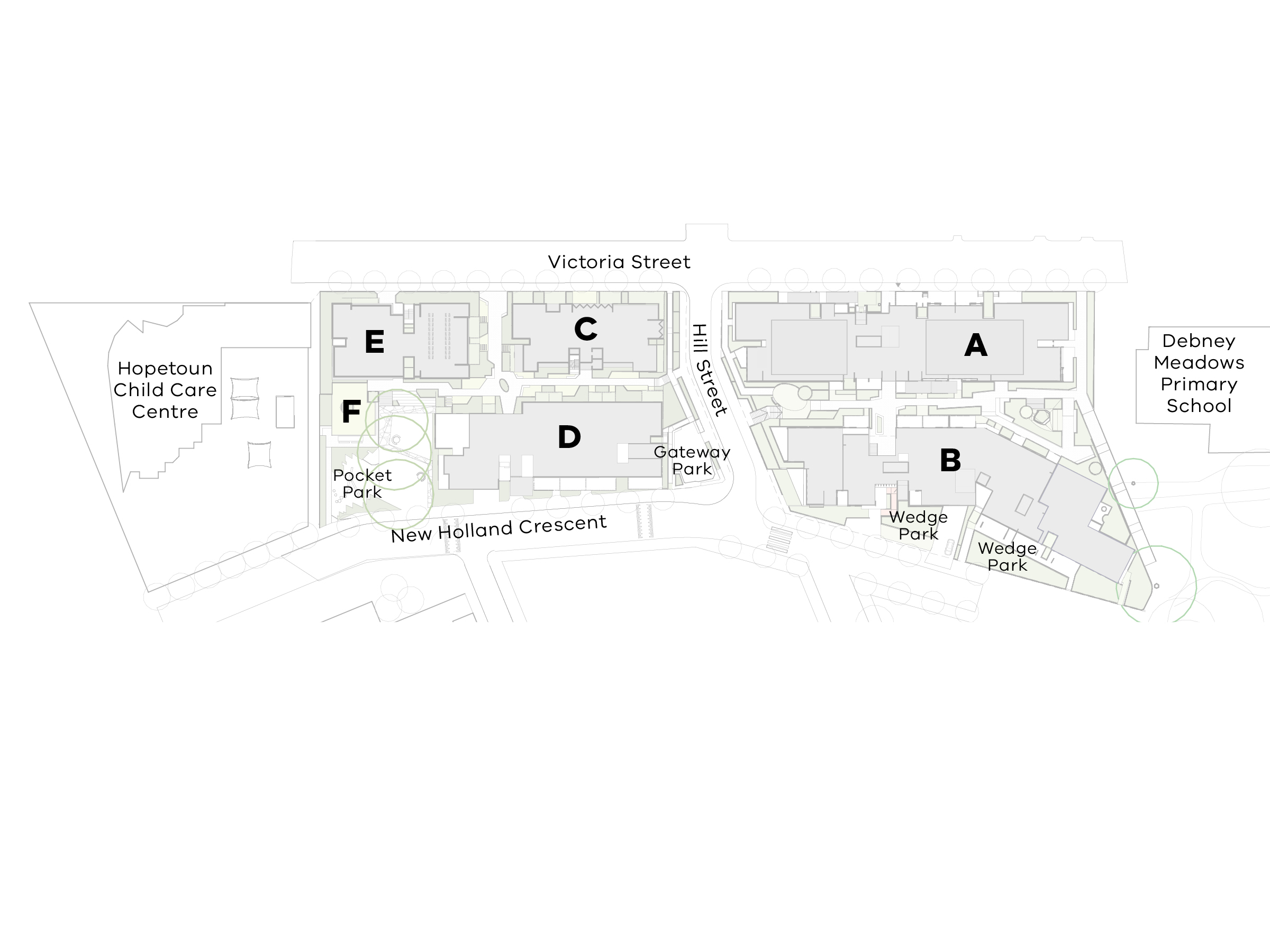 Site plan showing the new development in context with the existing environment. The south site of the development consists of buildings C, D, E and F. Buildings E and C are located on the Victoria Street side of the site between the Hopetoun Child Care Centre and Hill Street. Building F is located between building E and the pocket park on New Holland Crescent. Building D is located between the pocket park and gateway park along New Holland Crescent. The north site of the development consists of buildings A and B and is located between Hill Street and Debney Meadows Primary School. Building A is located on the Victoria Street side. Building B is located on the New Holland Crescent side with 2 wedge parks along between the building and the street.