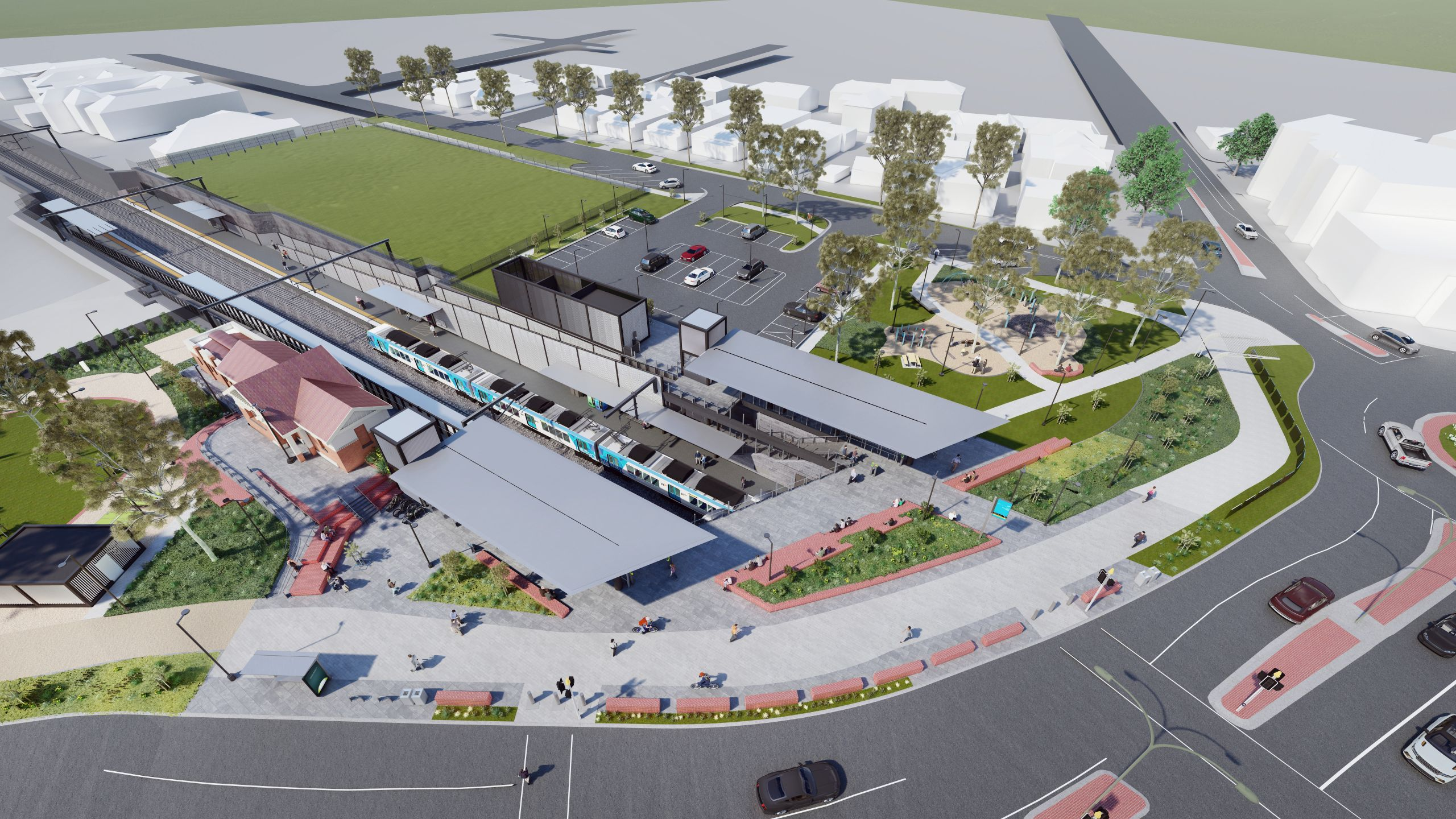 Lowered rail and North Williamstown Station precinct design