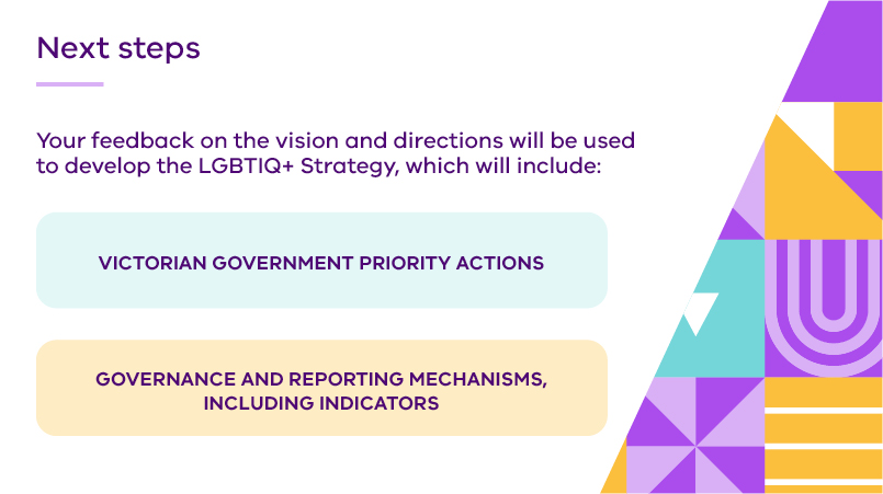 Next steps. Your feedback on the vision and directions will be included to develop the LGBTIQ+ Strategy, which will include: Victorian Government priority actions; and Governance and reporting mechanisms, including indicators.