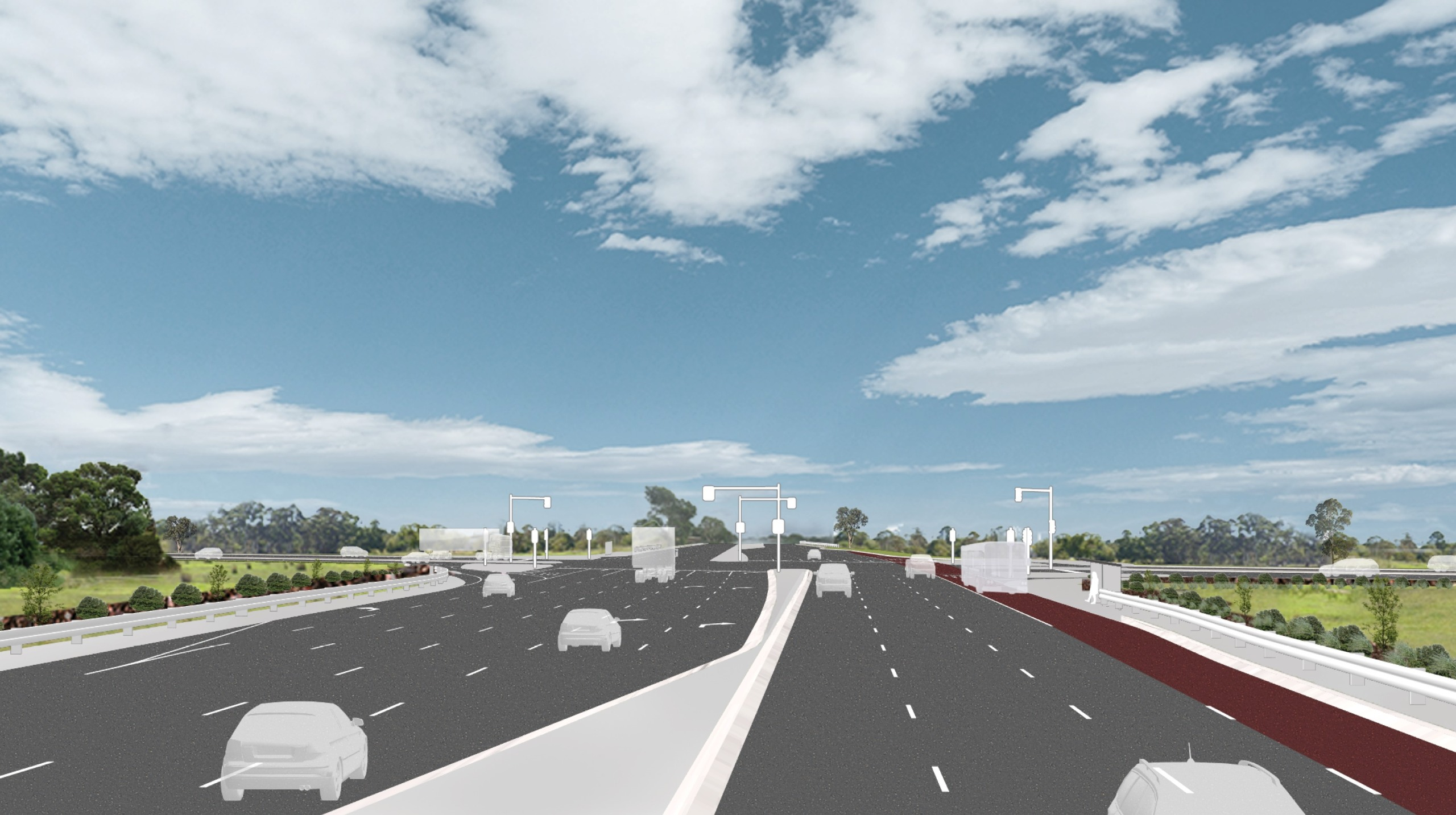 Artist's impression of cars driving through the Cranbourne-Frankston Road intersection 1 year after project completion